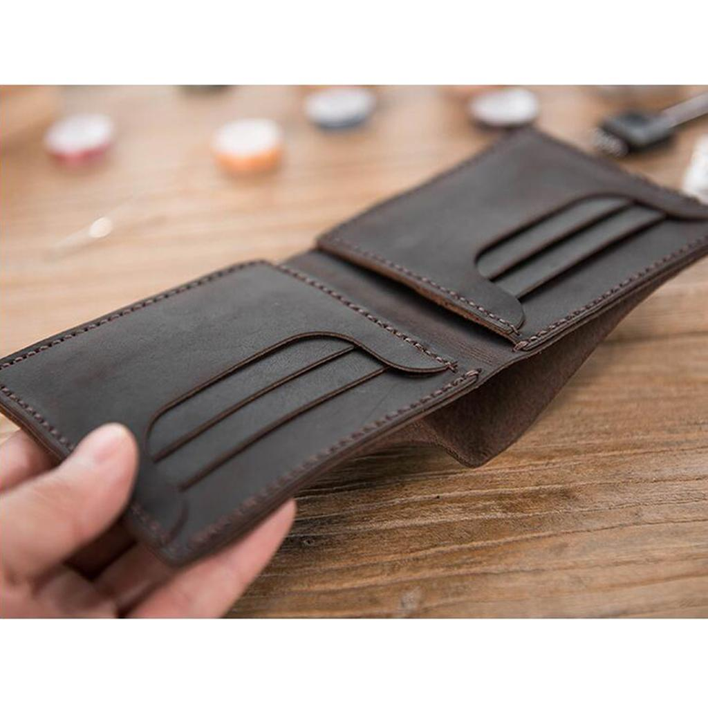 Lederverarbeitung-DIY-Vintage-Stil-Geldboerse-Portemonnaie-Muster-und-Material Indexbild 10