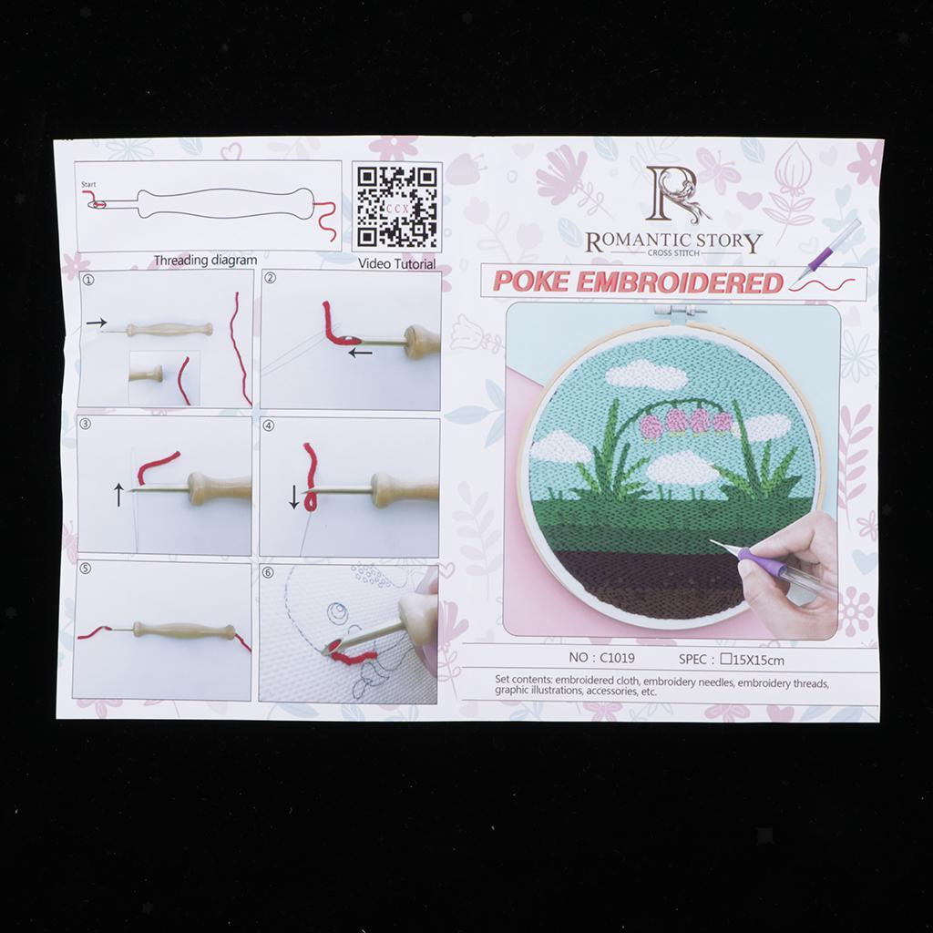 Cartoon Pattern Punch Needle Kit with Punch Embroidery Pen for Beginners 15cm