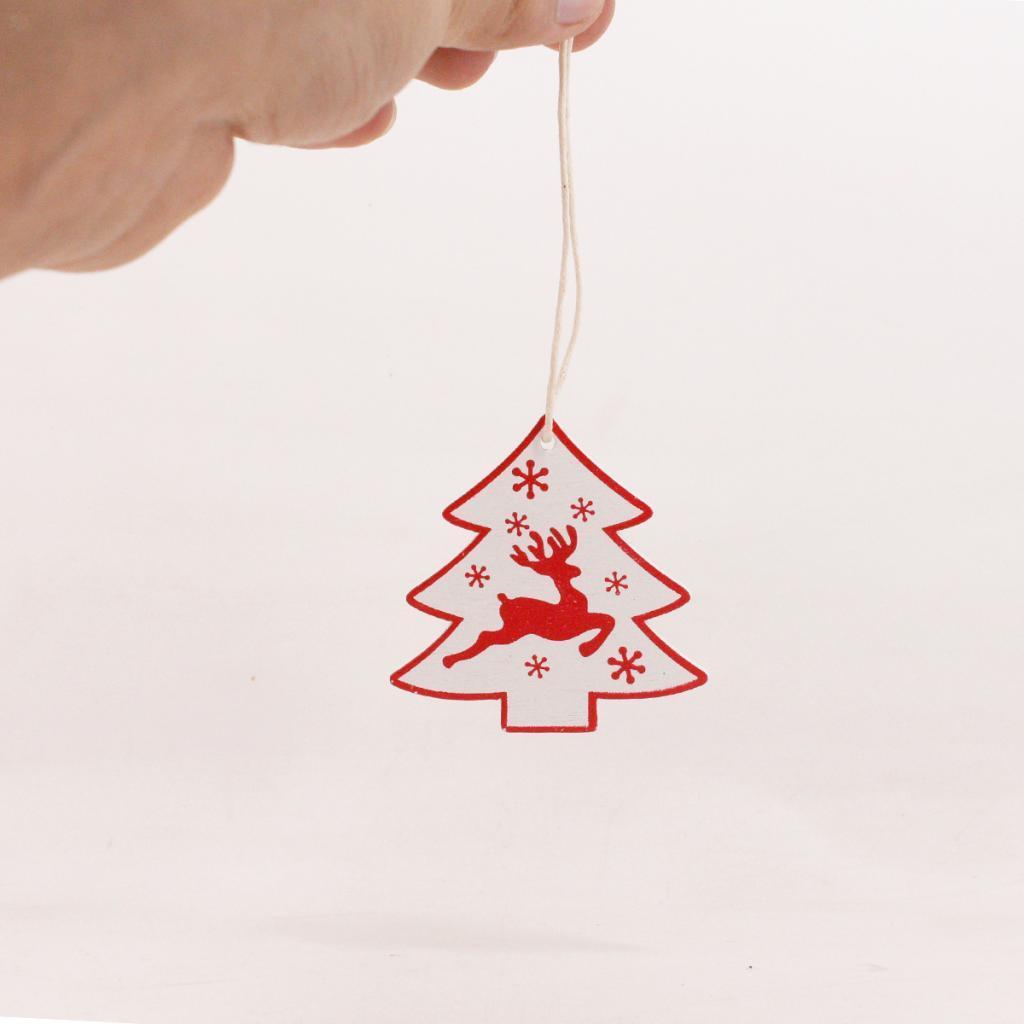 miniatura 10 - 10pcs ciondolo in legno di natale appeso albero ornamento accessori per ciondoli