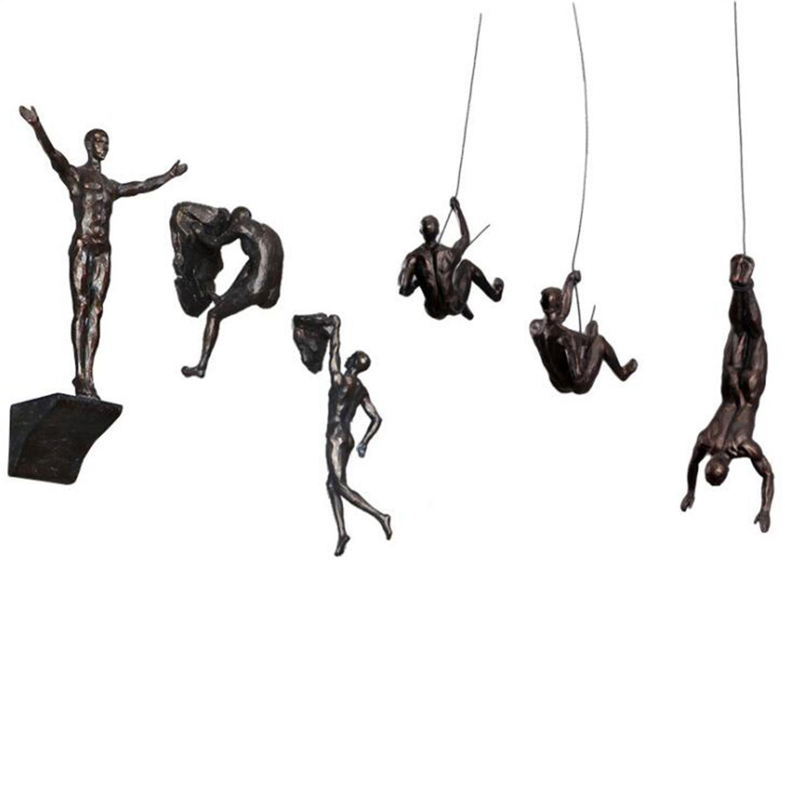 miniatura 73 - Arrampicata Su roccia Figurine Uomo Scalatore Appeso Statua di Attaccatura