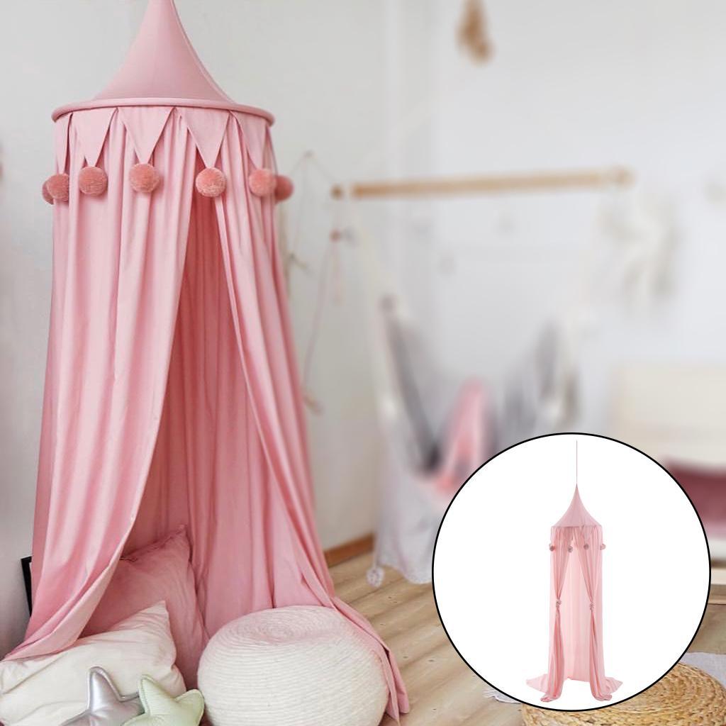 Kid Baby Bett Baldachin Bettdecke Moskitonetz Vorhang Round Dome Pink