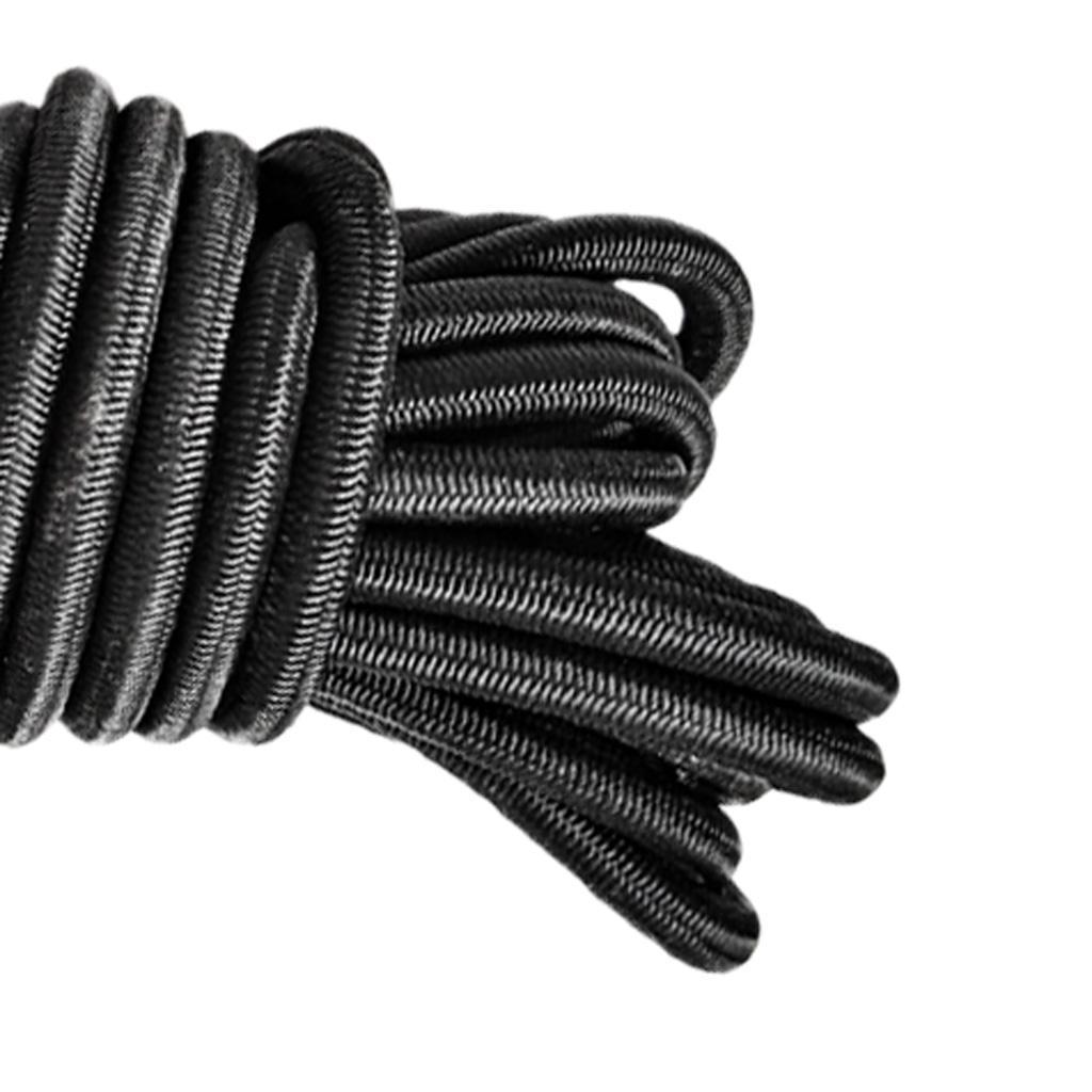 4mm x 5 Meters Black Elastic Bungee Rope Shock Cord Tie Down Boats Trailers