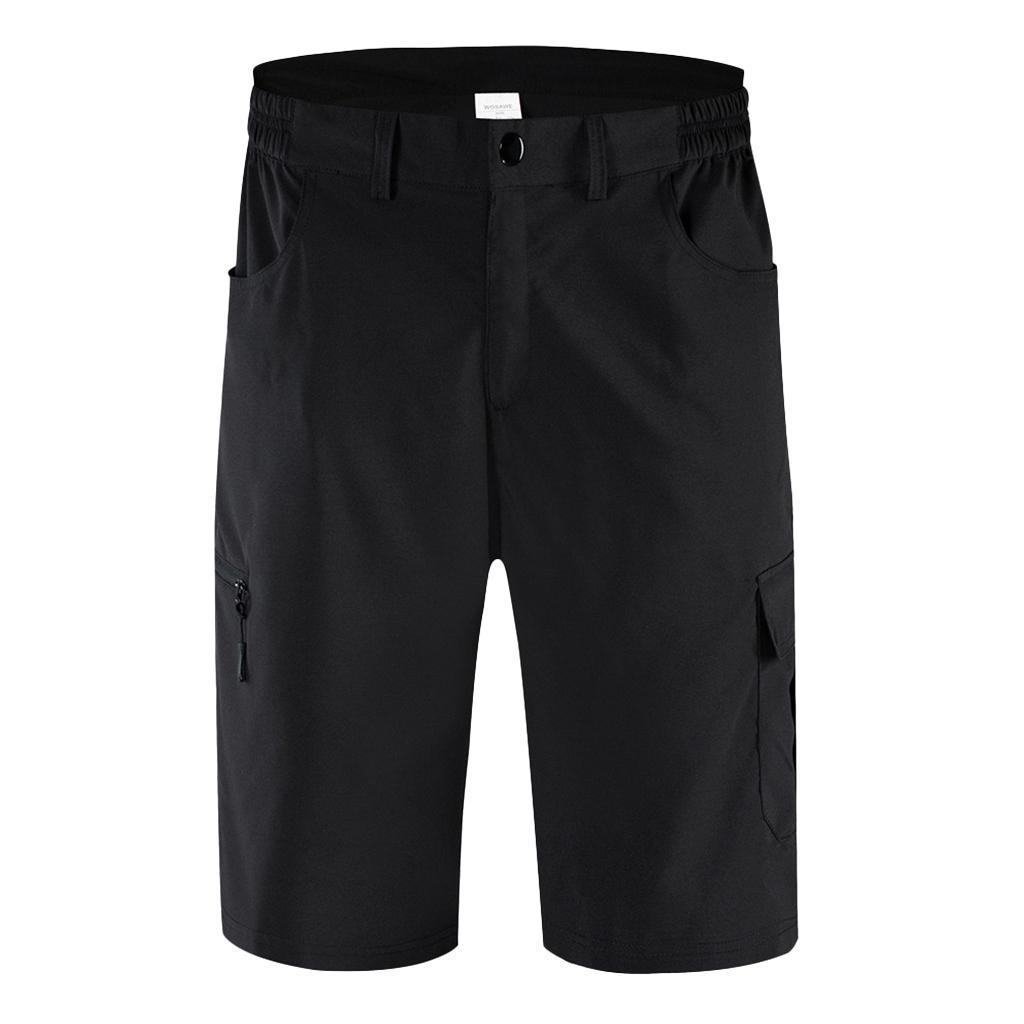 Men Cycling Shorts Mountain Bike MTB Bicycle Shorts Zip Pockets Padded Pant NEW