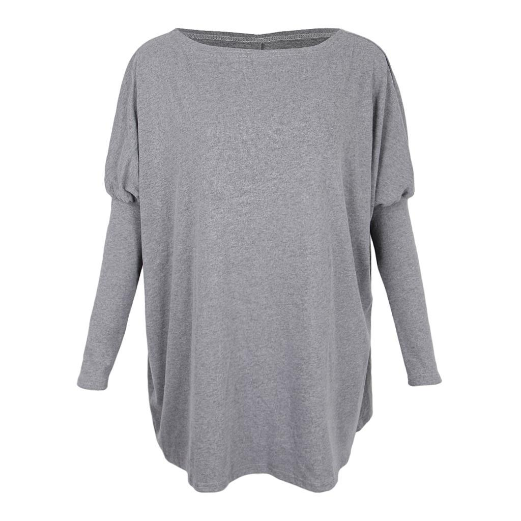 Womens-Long-Batwing-Sleeve-Solid-Pullover-Tops-Casual-Loose-Oversized-Shirts thumbnail 11