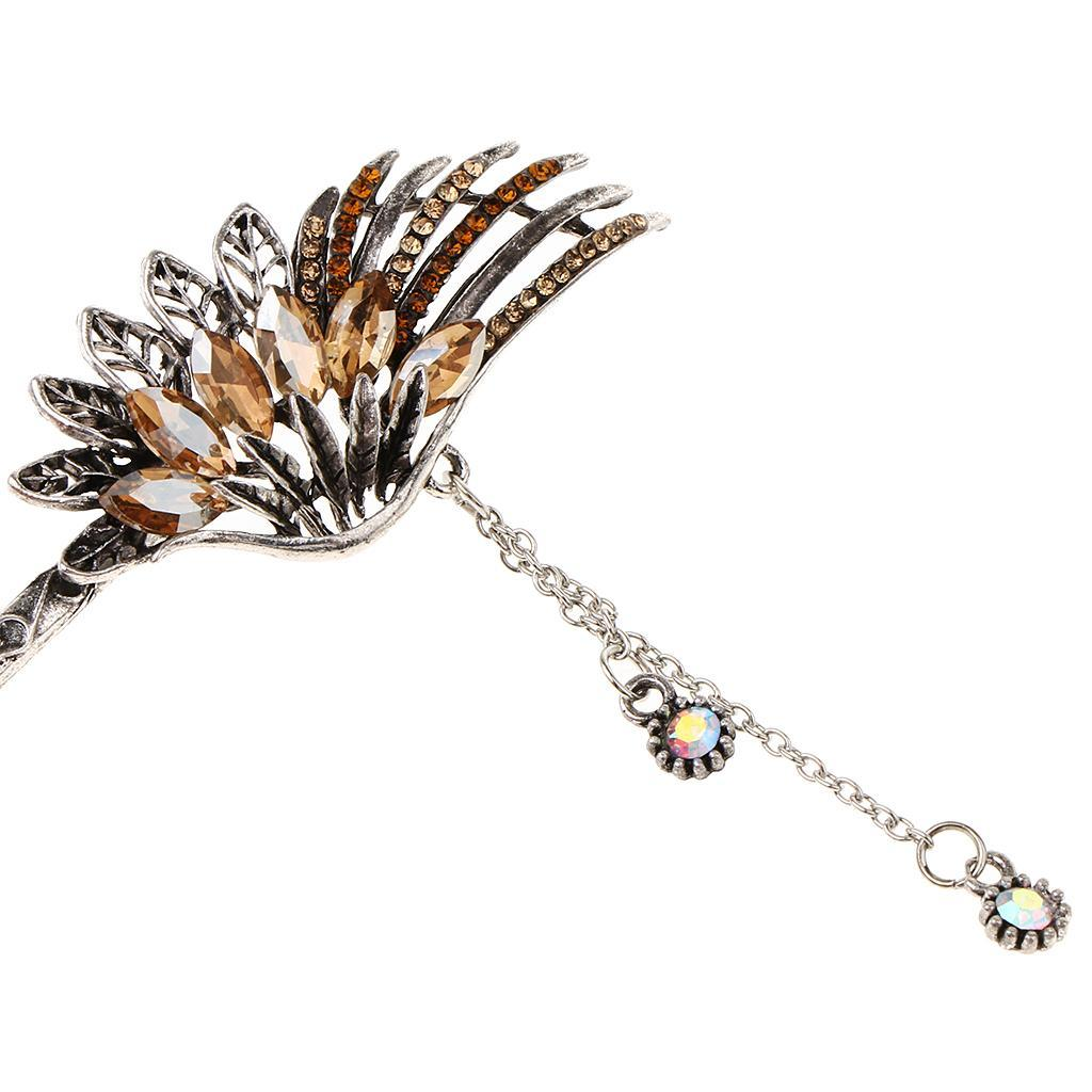 Diamante-Bead-Dangle-Hair-Stick-Chopstick-Feather-Hairpin-Chignon-Pin-Tassel thumbnail 20