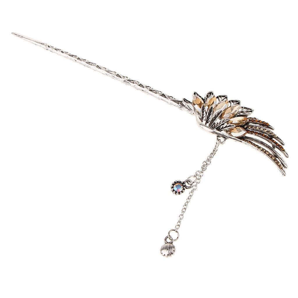 Diamante-Bead-Dangle-Hair-Stick-Chopstick-Feather-Hairpin-Chignon-Pin-Tassel thumbnail 15
