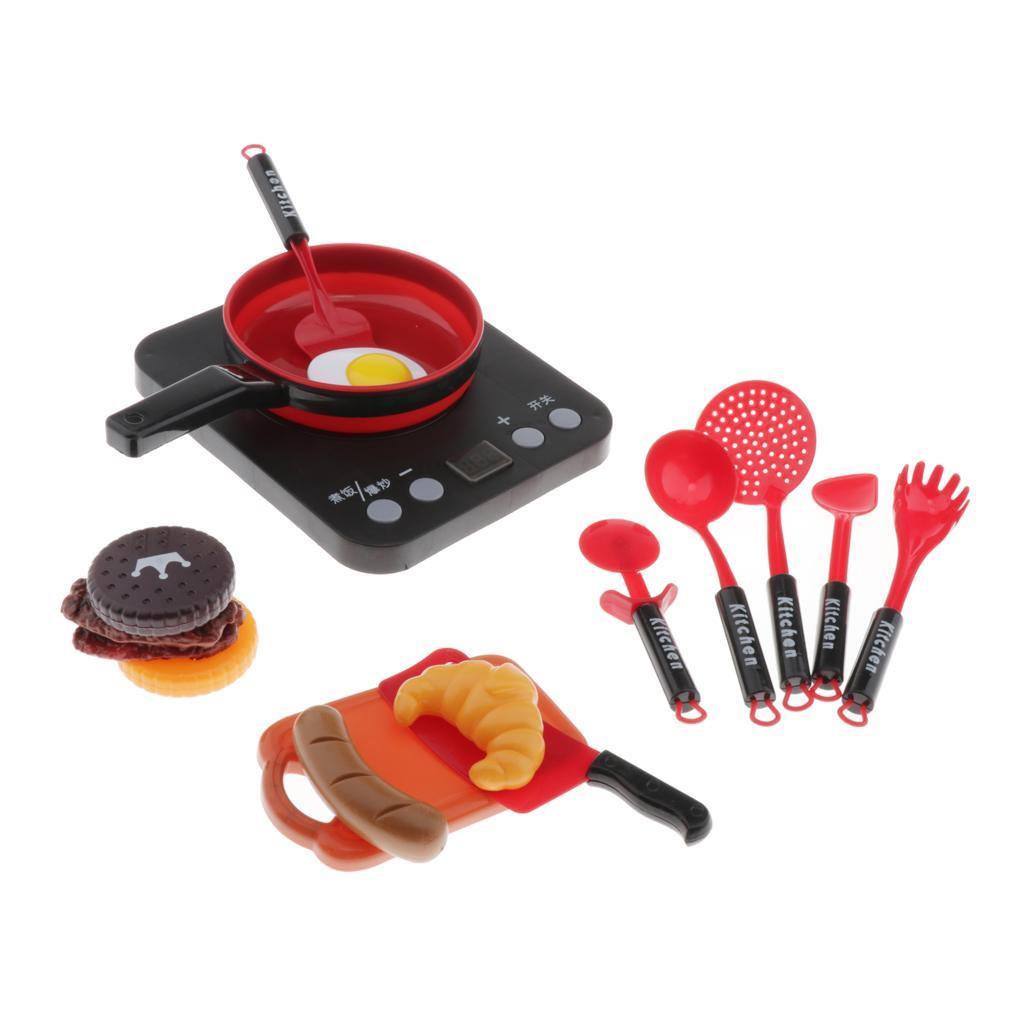 Set-Da-Gioco-In-Plastica-Per-Alimenti-E-Utensili-Da-Cucina-Per-Bambini miniatura 13