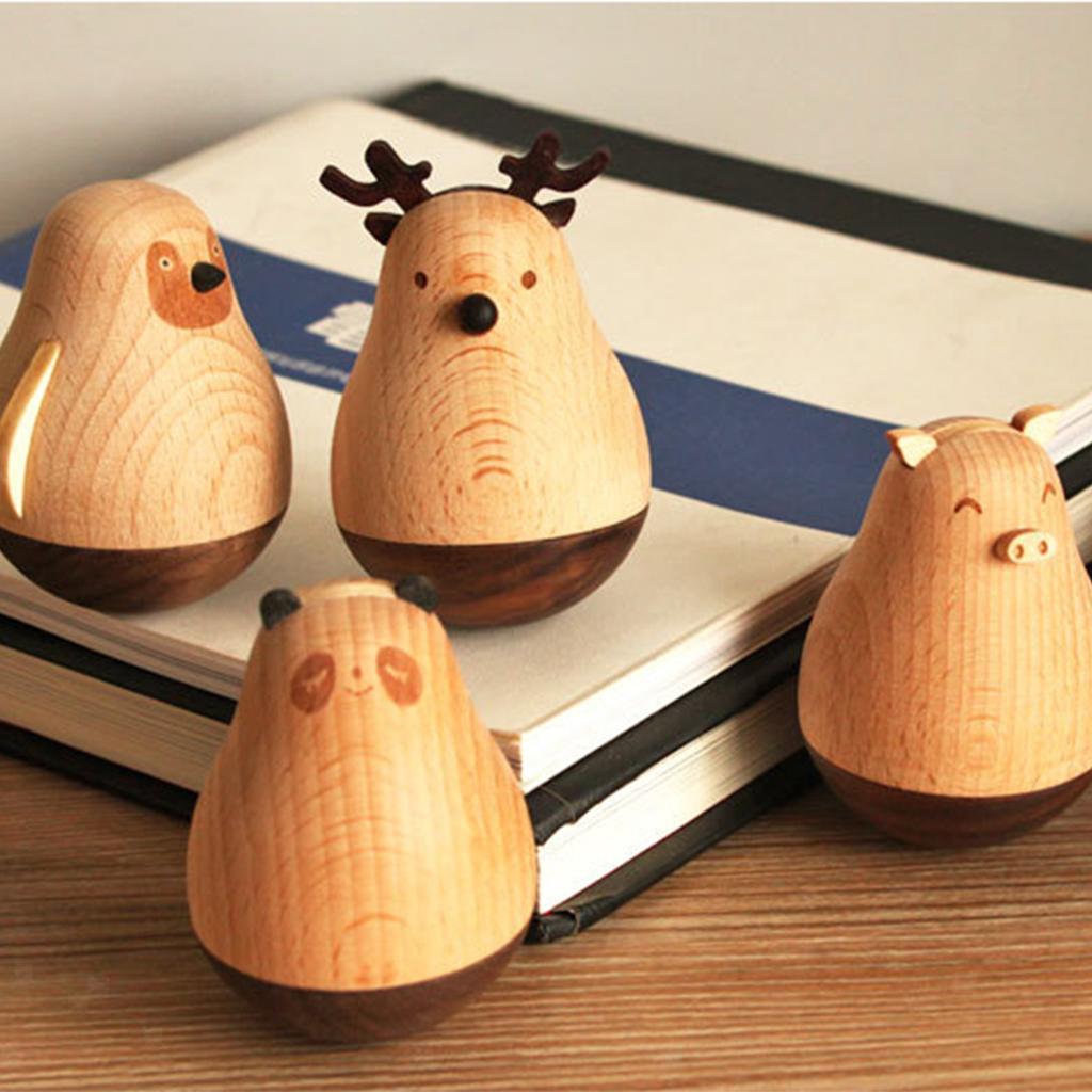 Wooden-Tumbler-Craft-Wood-Animal-Figure-Toy-Office-Desk-Decor-Ornament thumbnail 7