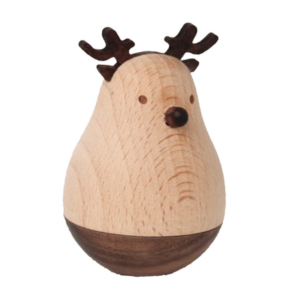 Wooden-Tumbler-Craft-Wood-Animal-Figure-Toy-Office-Desk-Decor-Ornament thumbnail 3