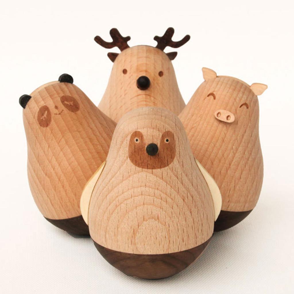 Wooden-Tumbler-Craft-Wood-Animal-Figure-Toy-Office-Desk-Decor-Ornament thumbnail 4