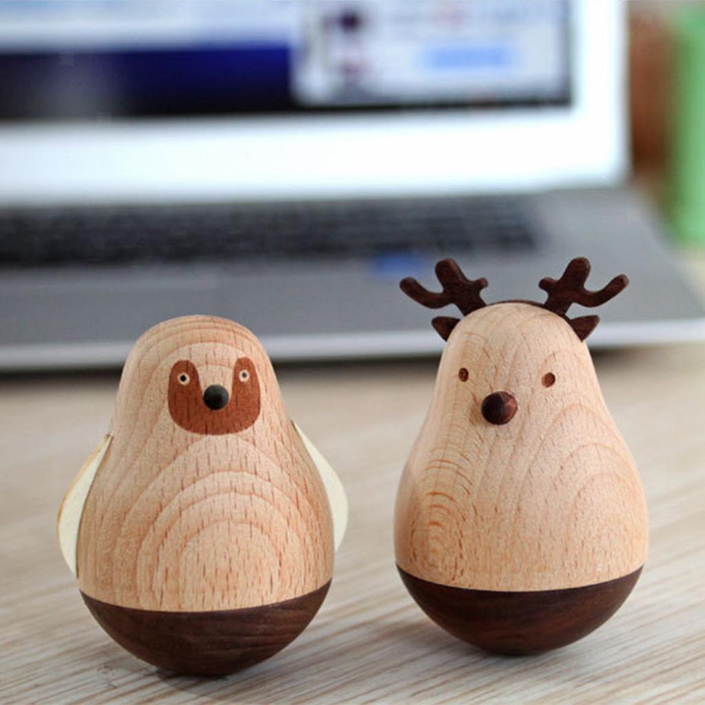 Wooden-Tumbler-Craft-Wood-Animal-Figure-Toy-Office-Desk-Decor-Ornament thumbnail 5