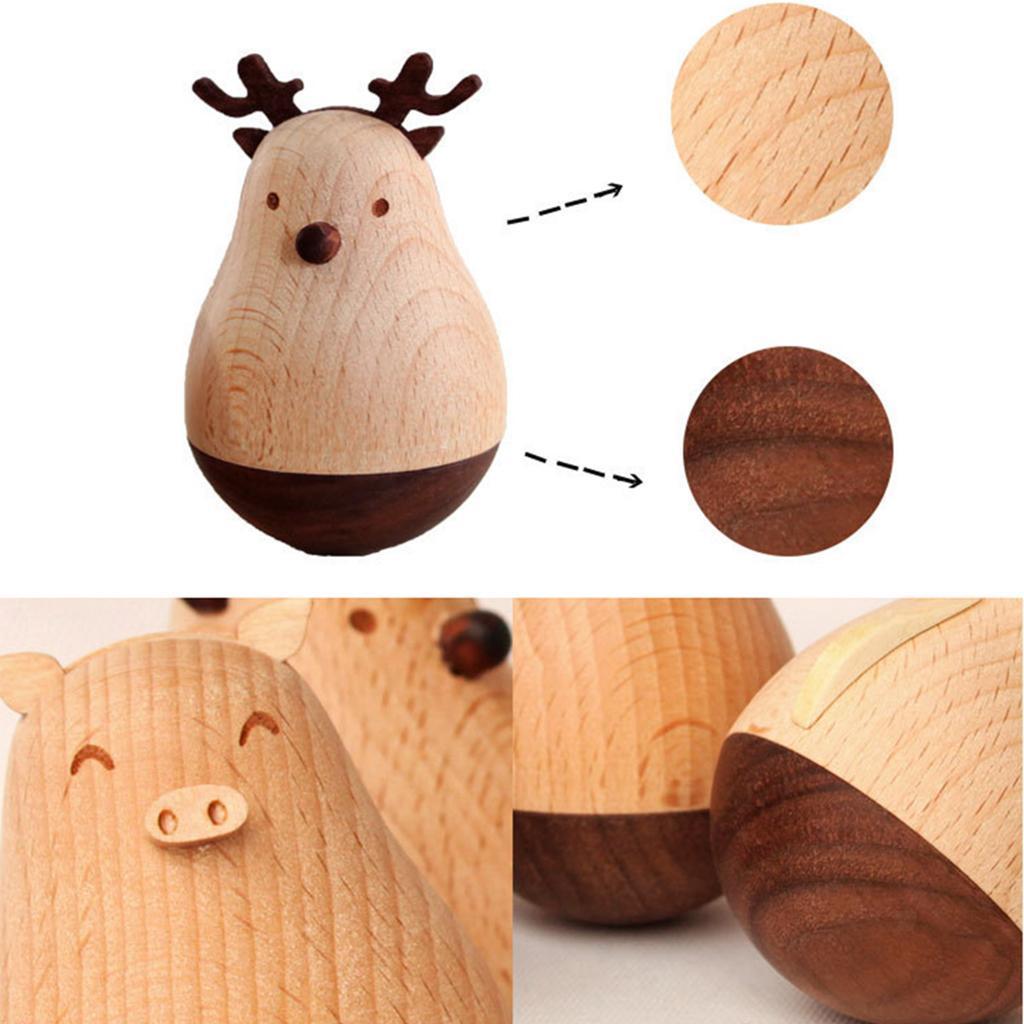 Wooden-Tumbler-Craft-Wood-Animal-Figure-Toy-Office-Desk-Decor-Ornament thumbnail 6