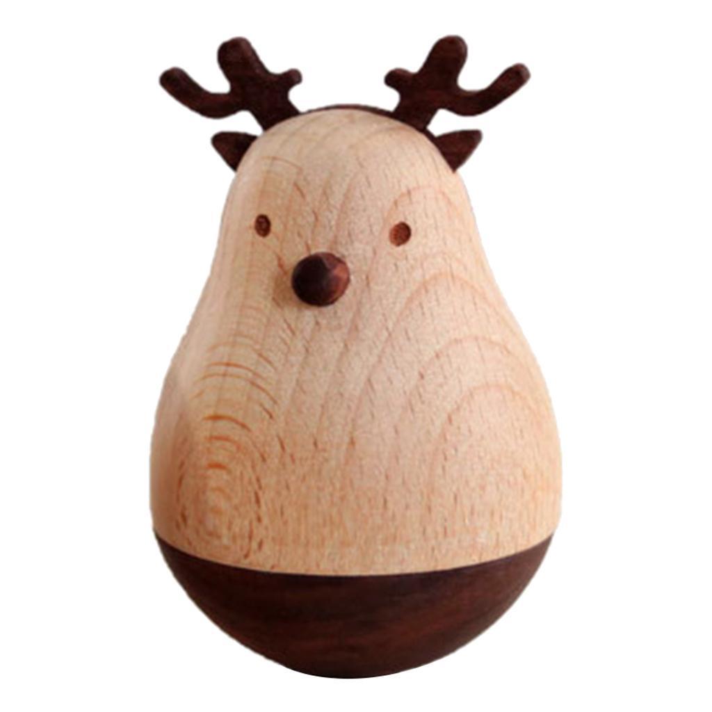 Elch CUTICATE Holzspielzeug Stehaufm/ännchen Schreibtisch Spielzeug Wackelpuppe Dekoration