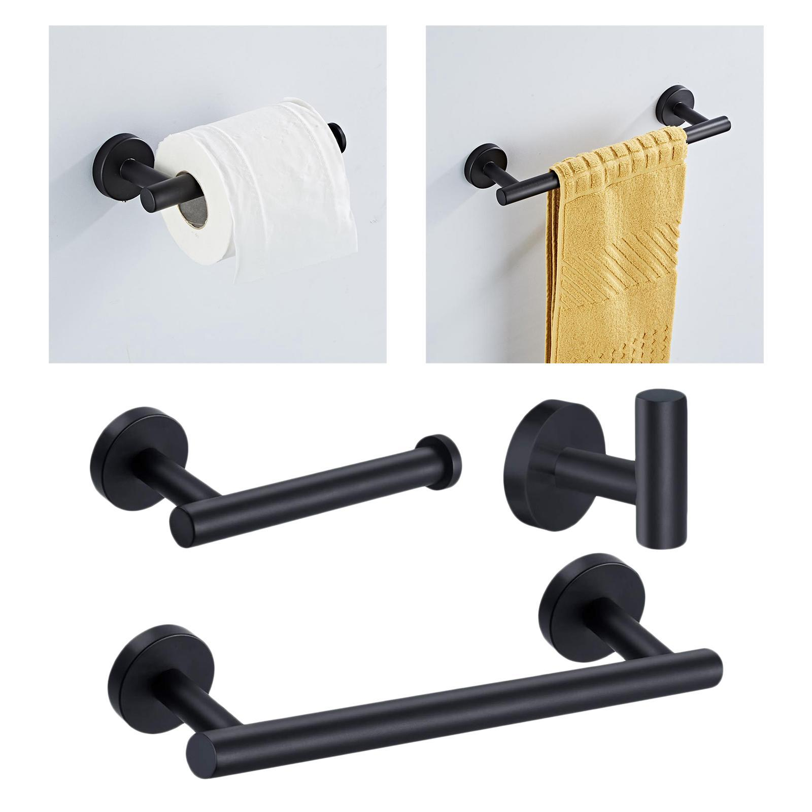 thumbnail 9 - 3x-Brushed-Robe-Hook-Toilet-Paper-Holder-12-034-Hand-Towel-Bar-Hardware-Set