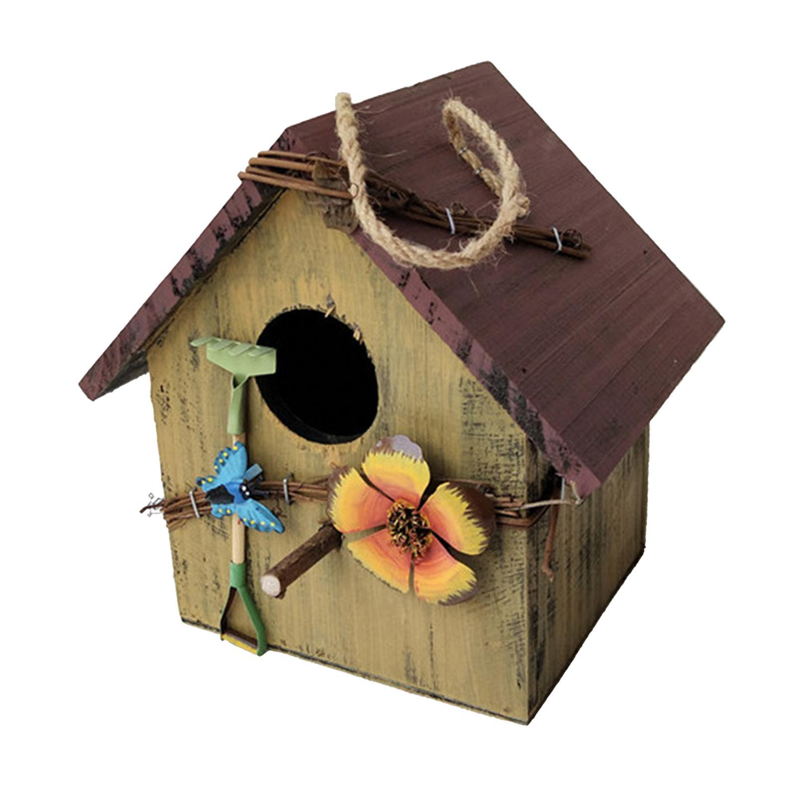thumbnail 5 - Antique Hand Painted Wood Birdhouse Decorative Outdoor Bird House Garden