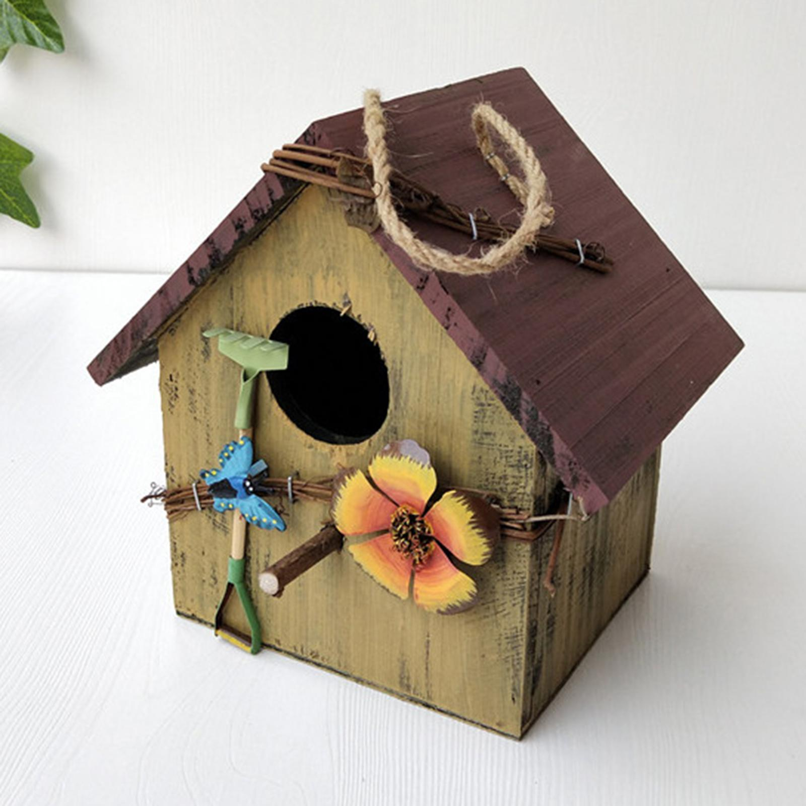 thumbnail 6 - Antique Hand Painted Wood Birdhouse Decorative Outdoor Bird House Garden