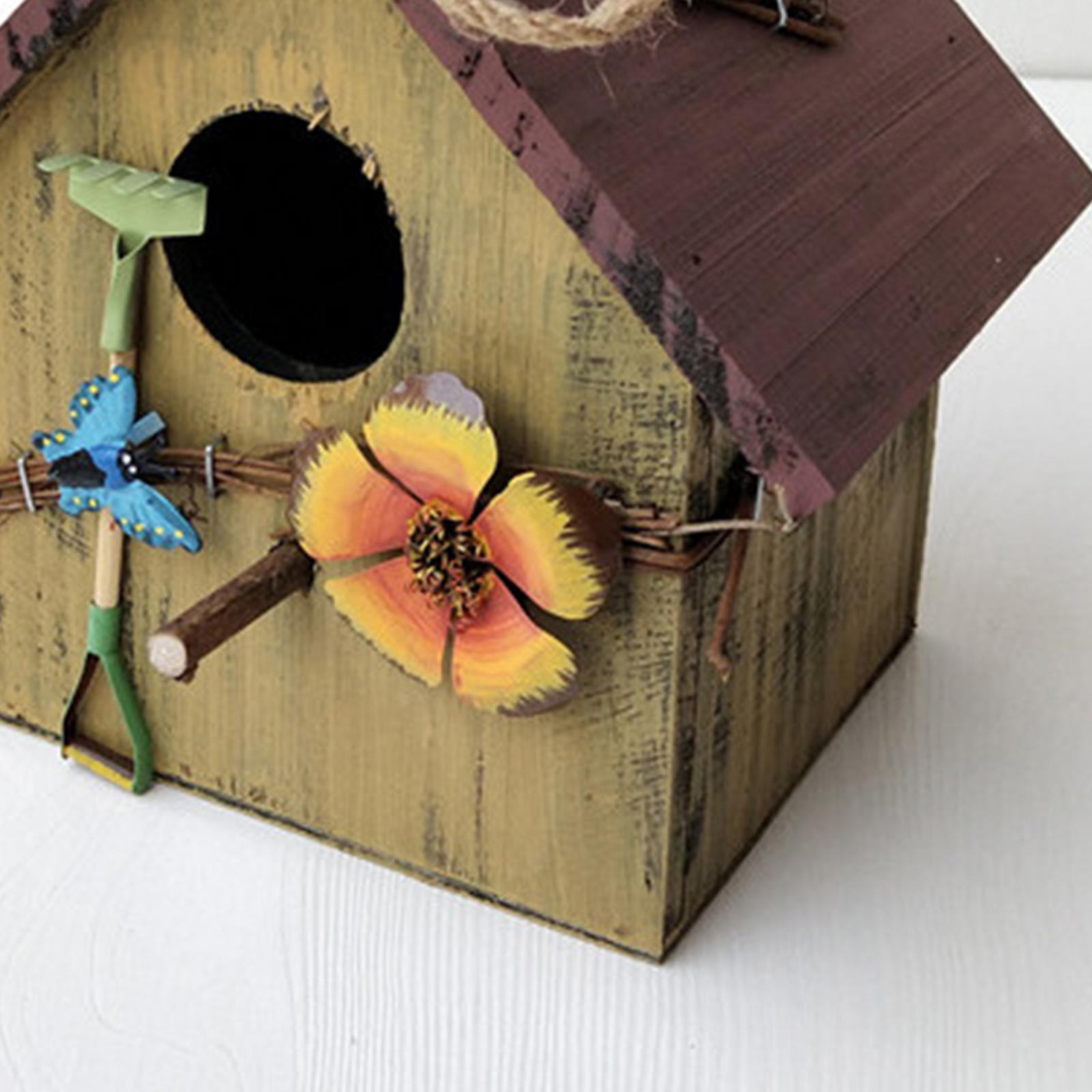 thumbnail 4 - Antique Hand Painted Wood Birdhouse Decorative Outdoor Bird House Garden