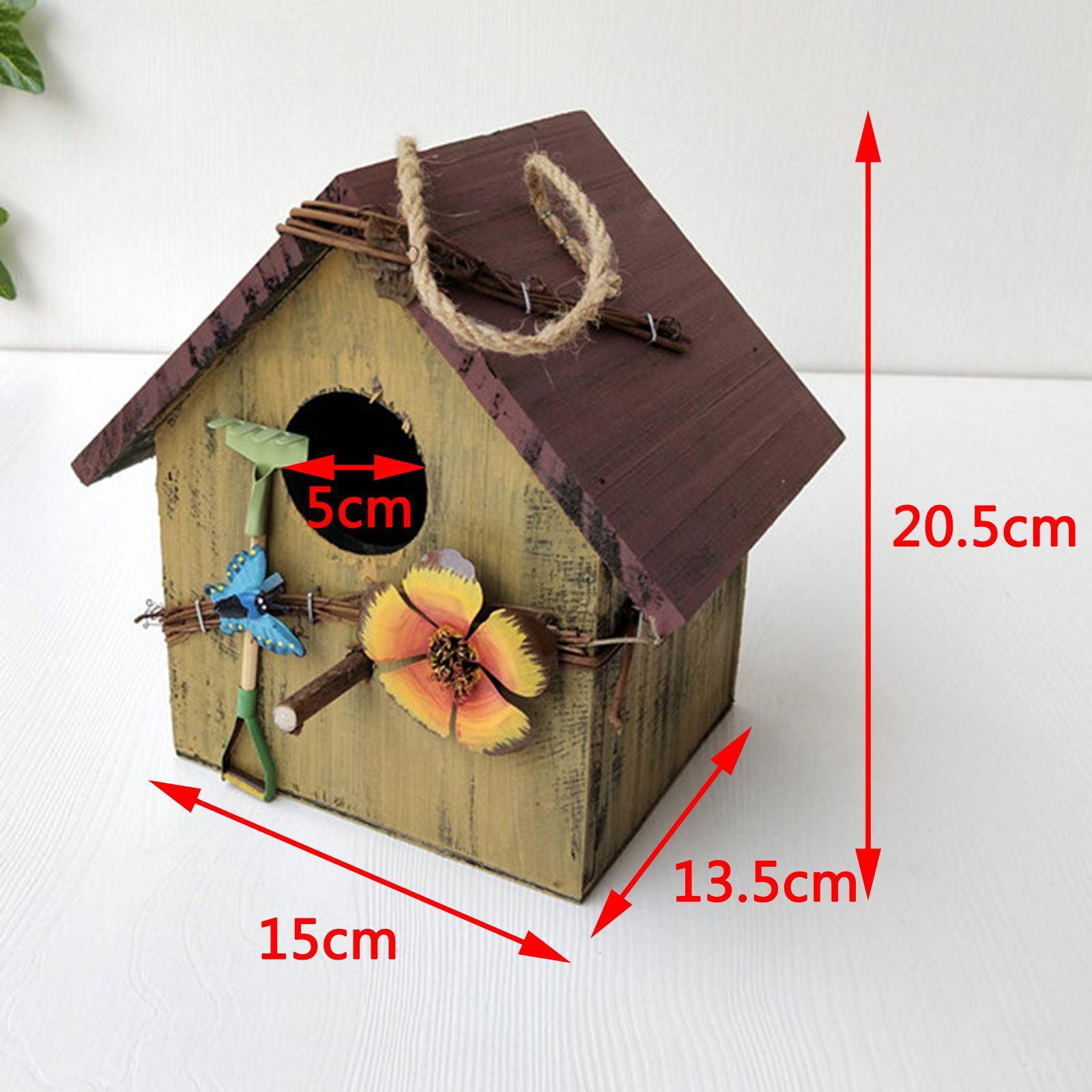 thumbnail 8 - Antique Hand Painted Wood Birdhouse Decorative Outdoor Bird House Garden