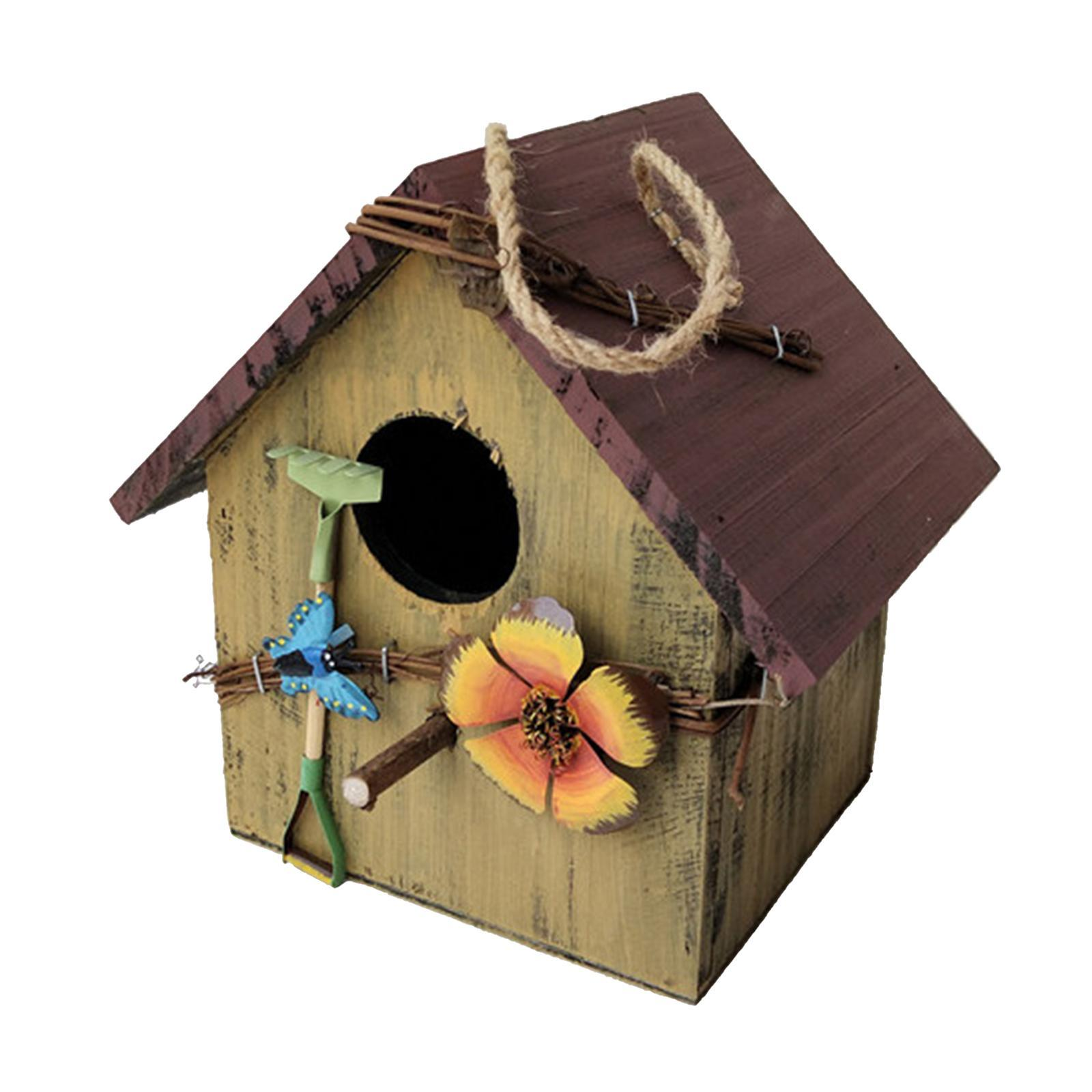 thumbnail 7 - Antique Hand Painted Wood Birdhouse Decorative Outdoor Bird House Garden