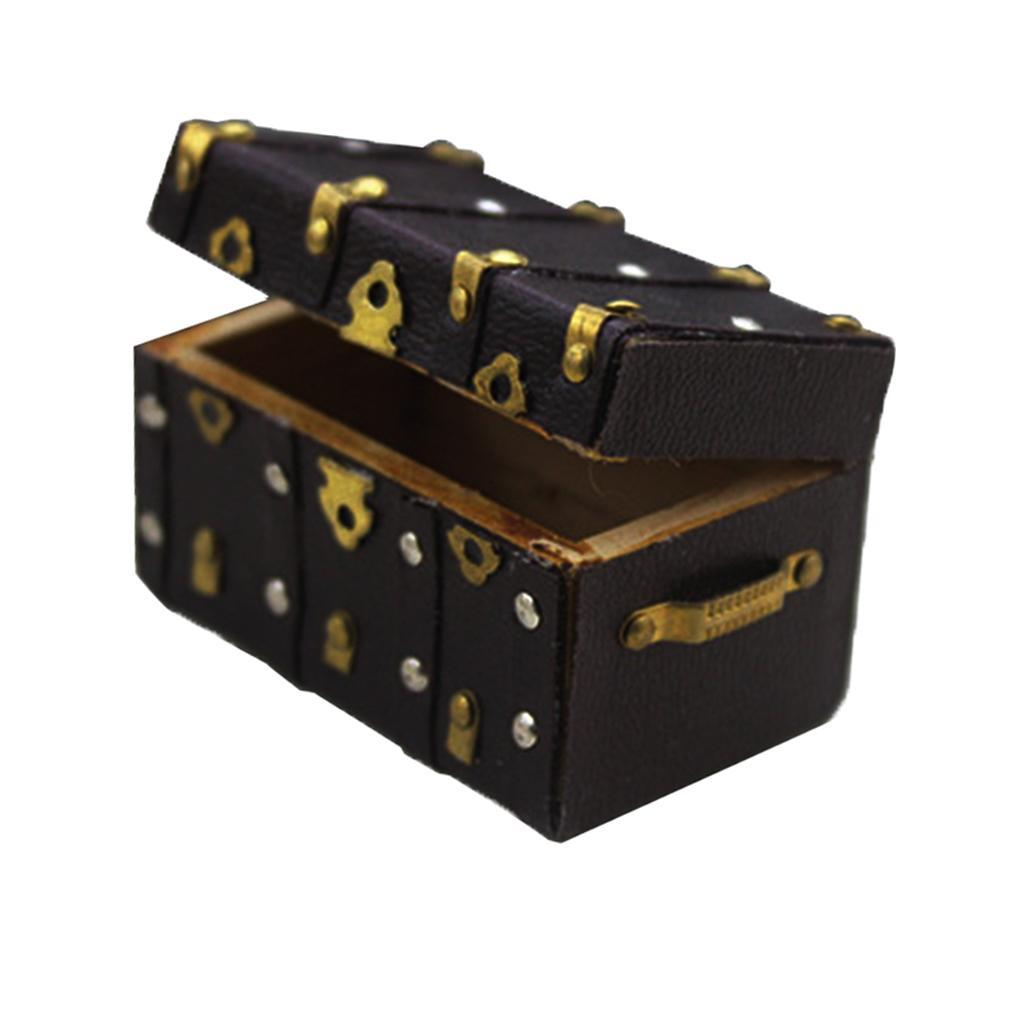 1//12 1//6 Dollhouse Mini Wooden Suitcase Travel Luggage DIY Desk Accs Toy Decor
