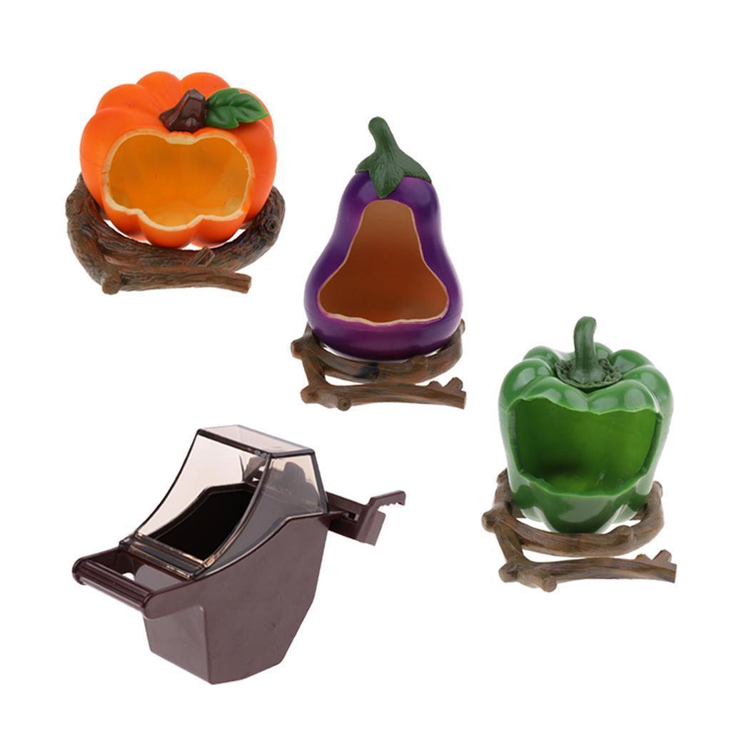 thumbnail 4 - Food Water Plastic Pumpkin Bowl Eggplant Cups Small Parrots Bird Pigeons Cage
