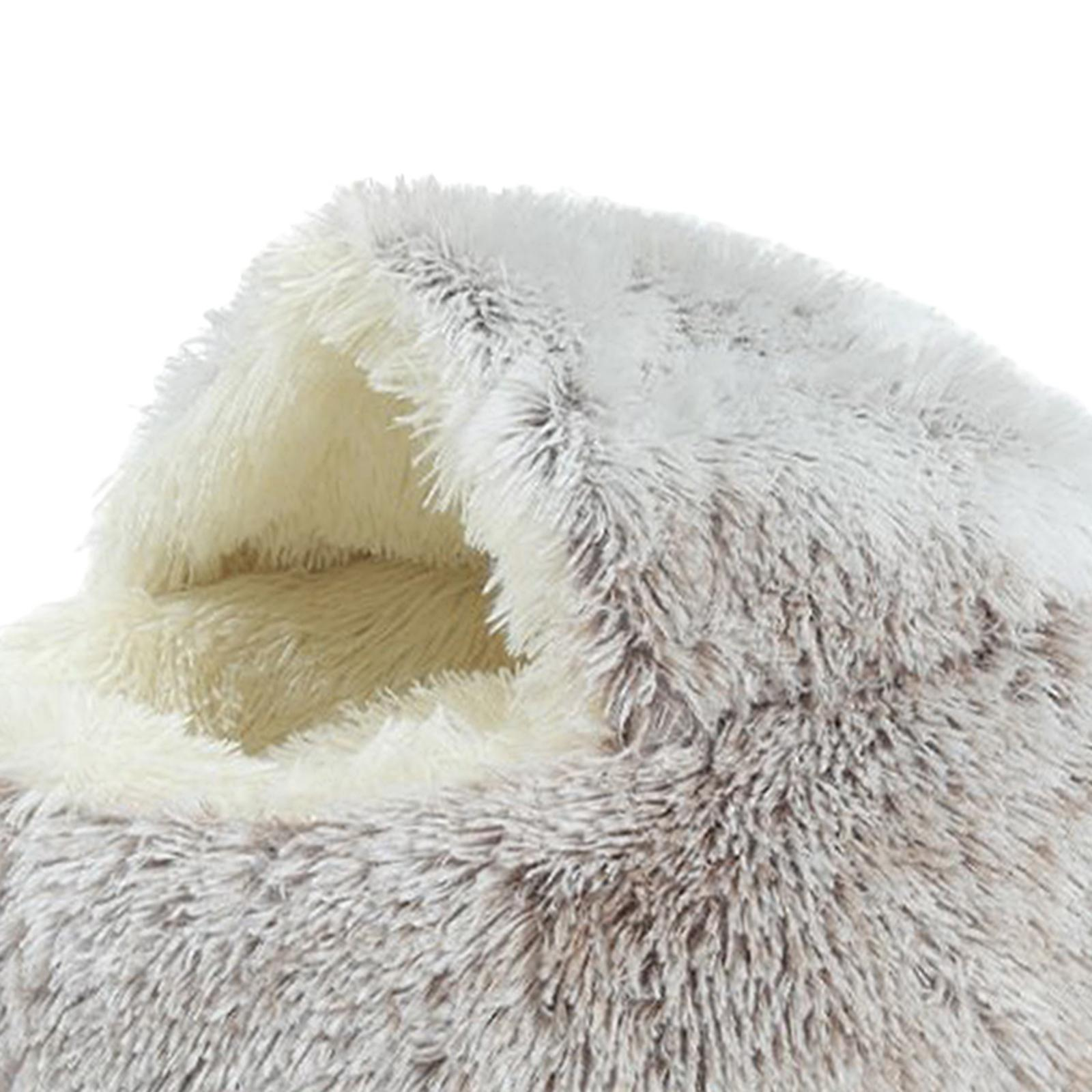 thumbnail 42 - Plush Pet Dog Cat Bed Fluffy Soft Warm Calming Bed Sleeping Kennel Cave Nest