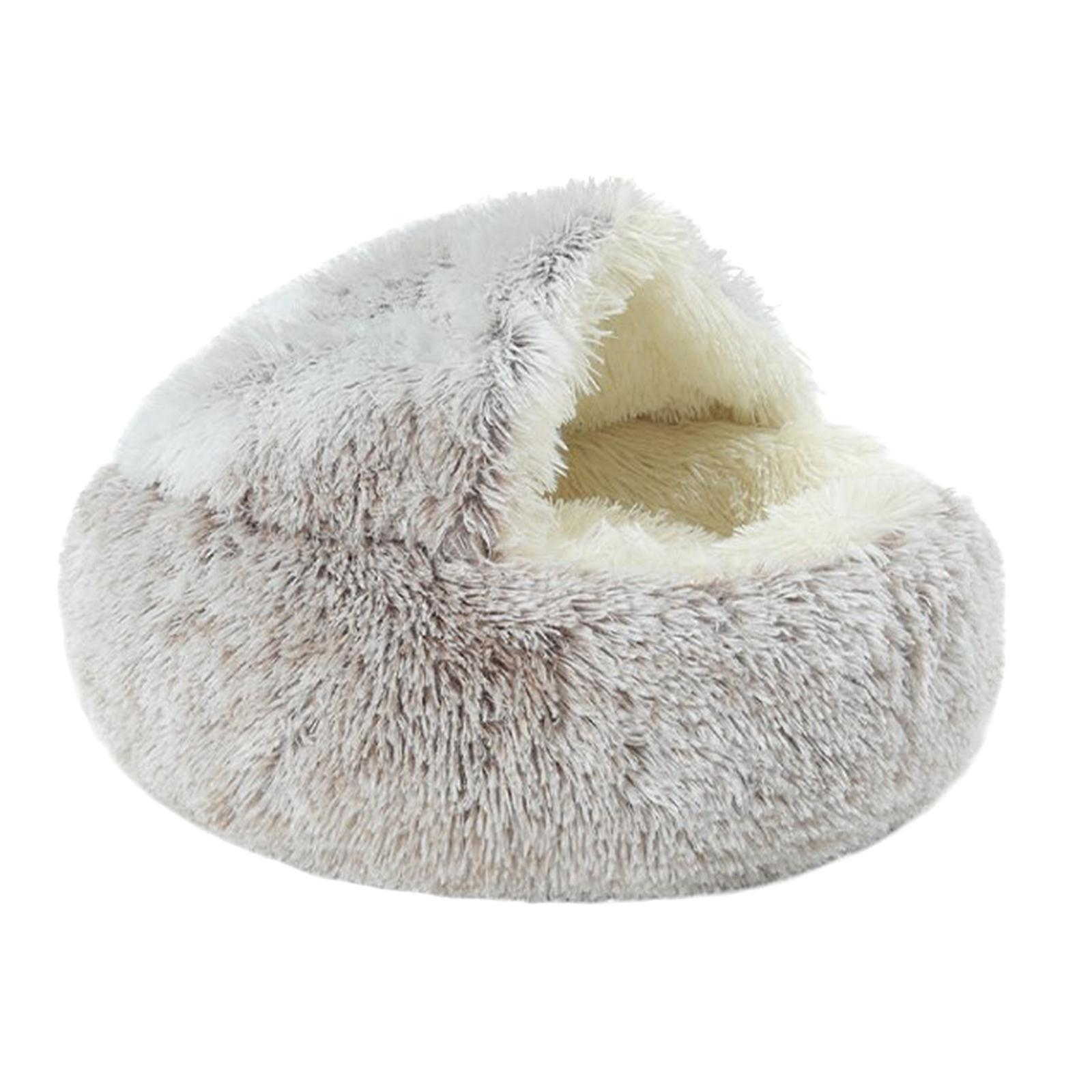 thumbnail 48 - Plush Pet Dog Cat Bed Fluffy Soft Warm Calming Bed Sleeping Kennel Cave Nest