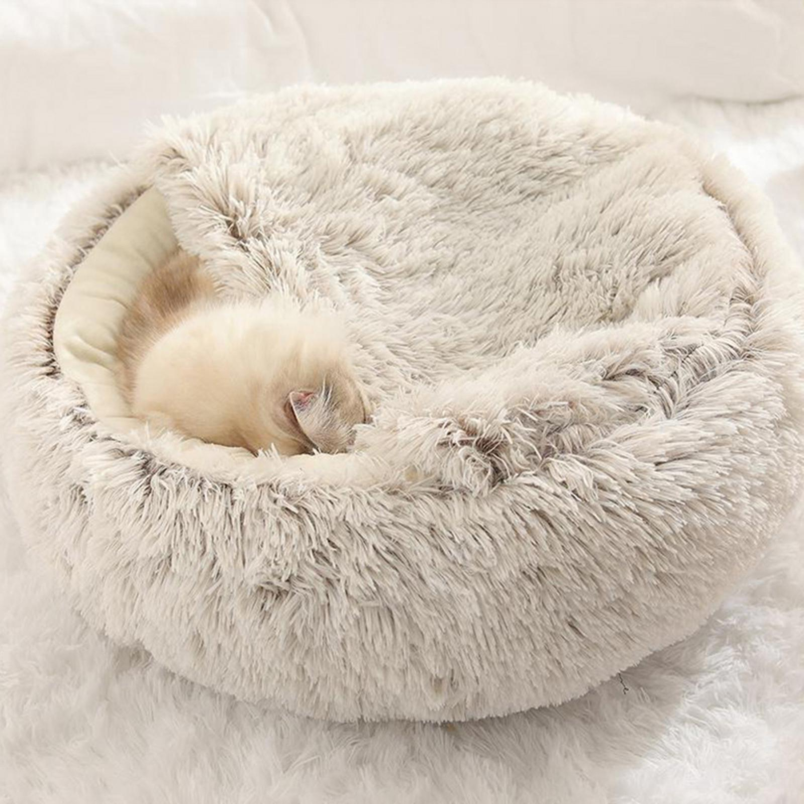 thumbnail 50 - Plush Pet Dog Cat Bed Fluffy Soft Warm Calming Bed Sleeping Kennel Cave Nest