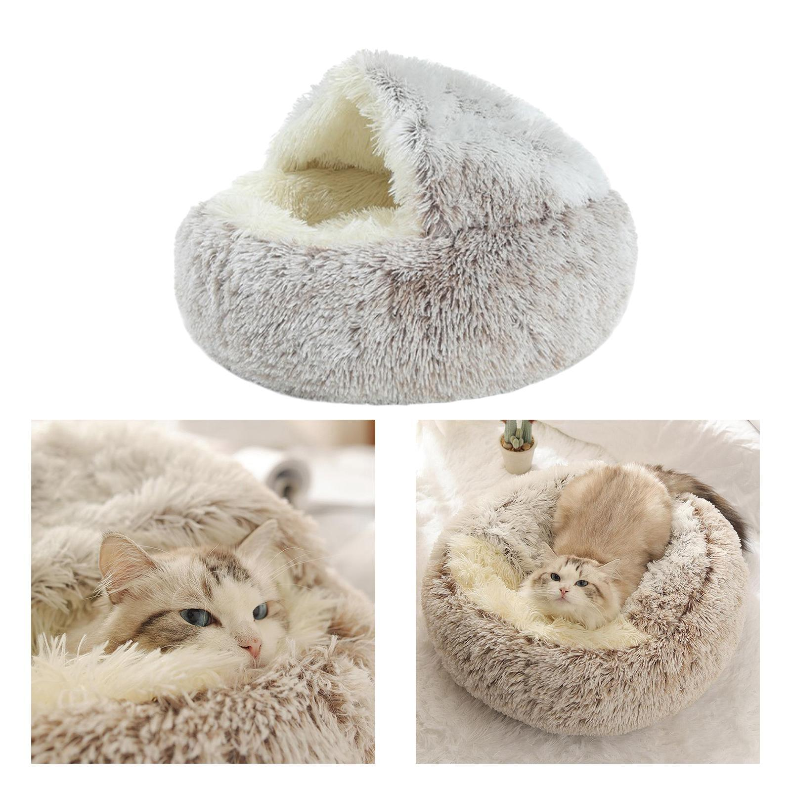 thumbnail 46 - Plush Pet Dog Cat Bed Fluffy Soft Warm Calming Bed Sleeping Kennel Cave Nest