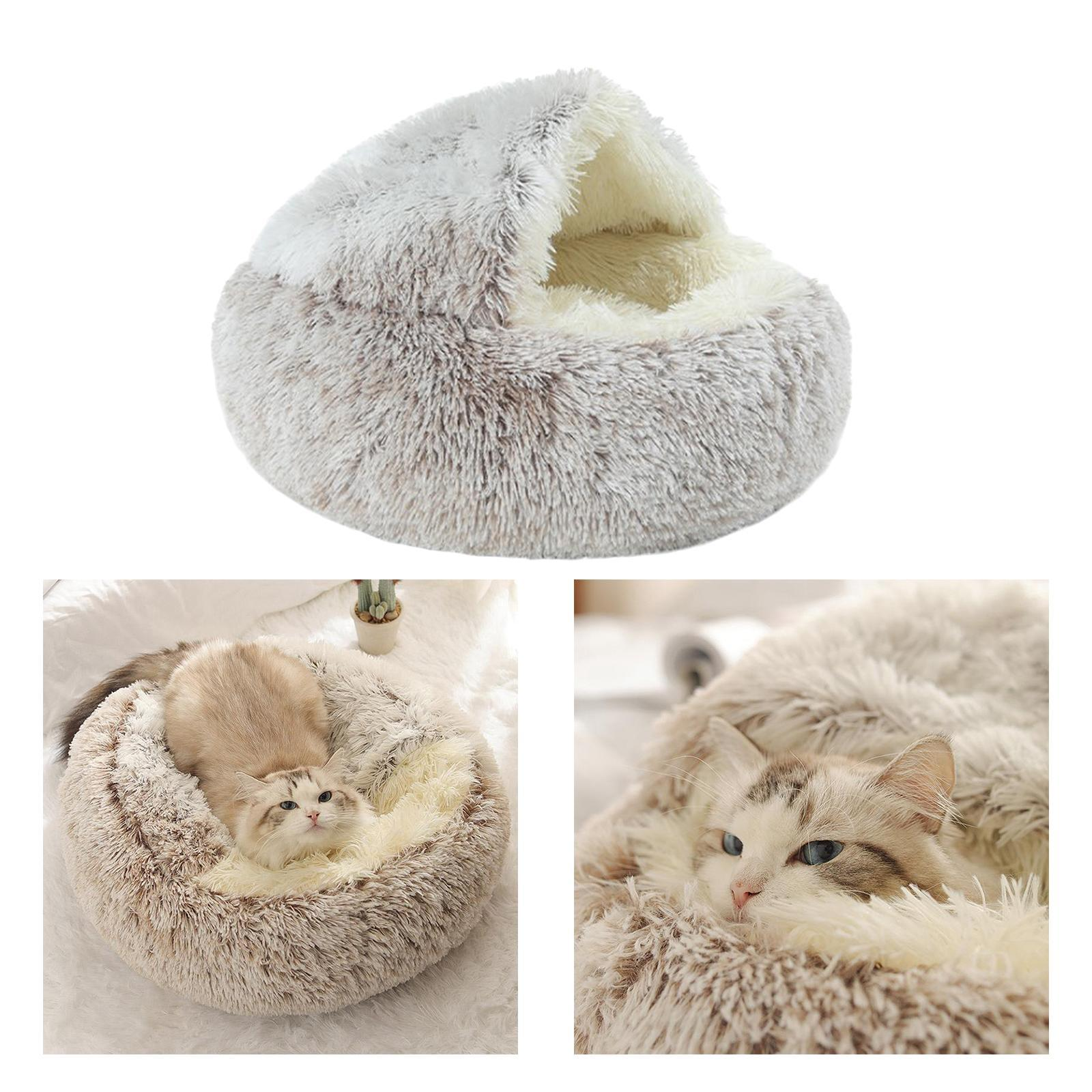 miniature 43 - Pet Chien Chat Calmant Lit Rond Nid Chaud En Peluche Confortable de Couchage