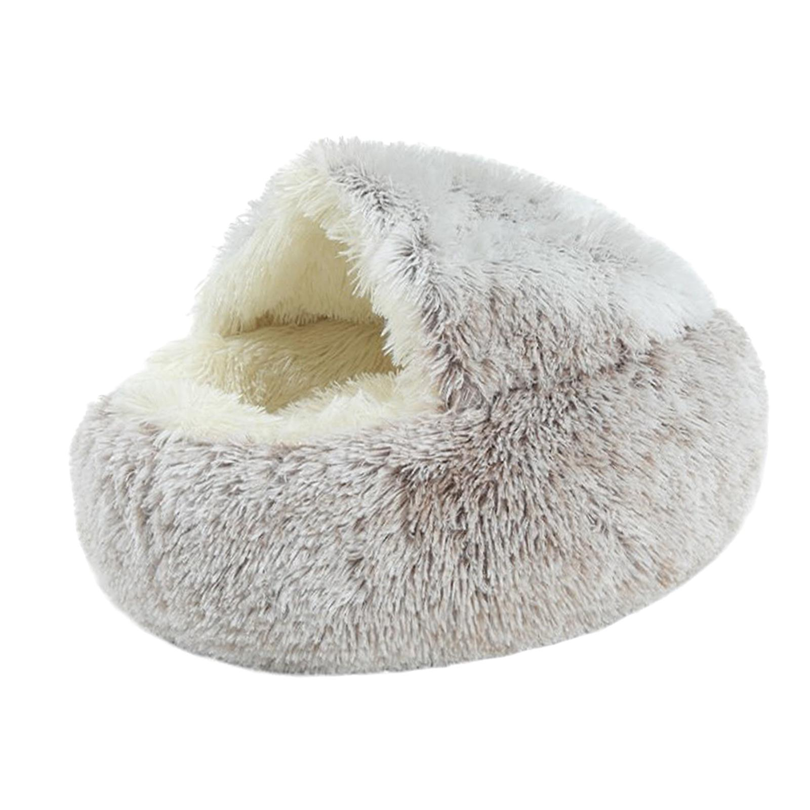 thumbnail 45 - Plush Pet Dog Cat Bed Fluffy Soft Warm Calming Bed Sleeping Kennel Cave Nest