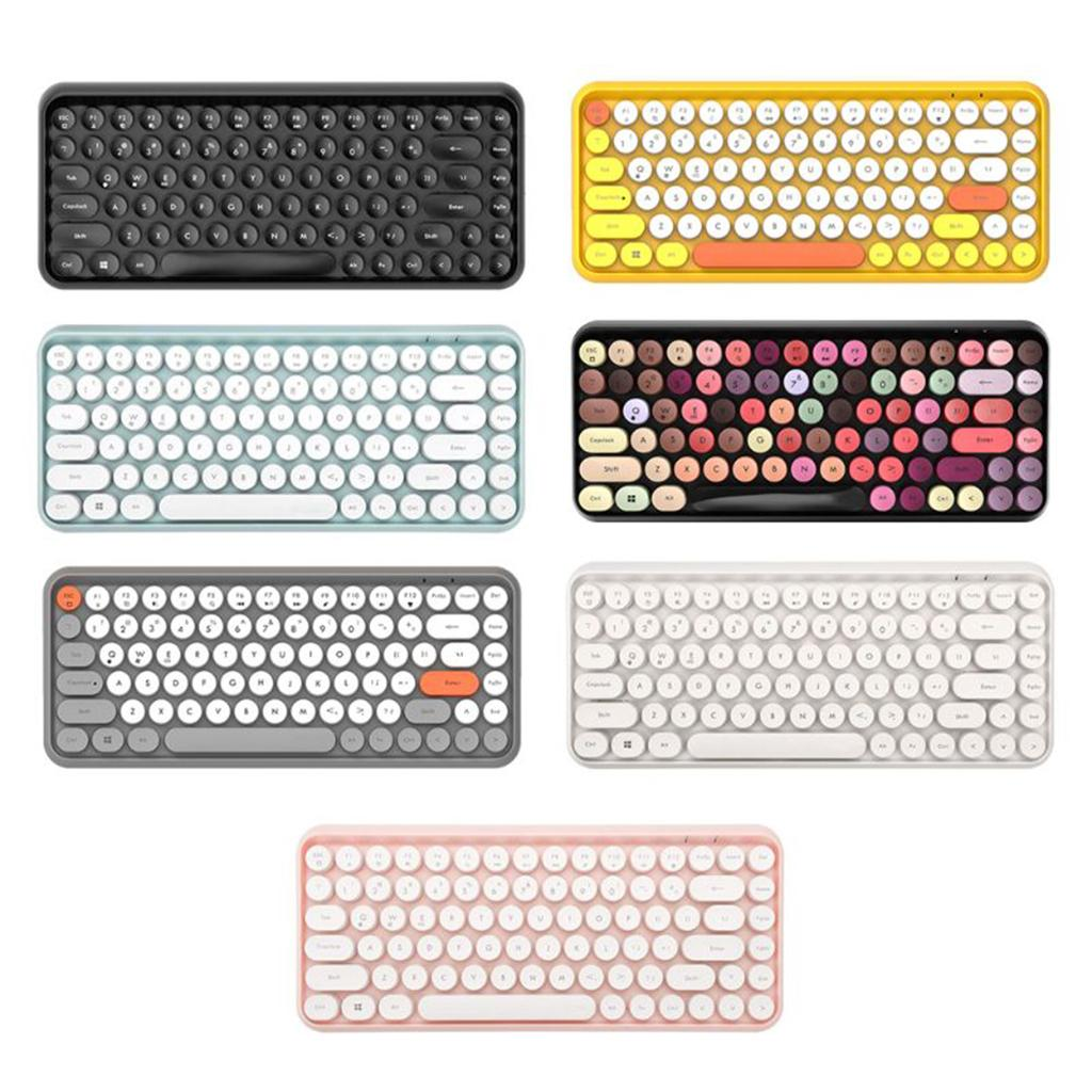 Ajazz Wireless Bluetooth Keyboard Compact Retro Round Keycaps 84 Keys Auto Sleep