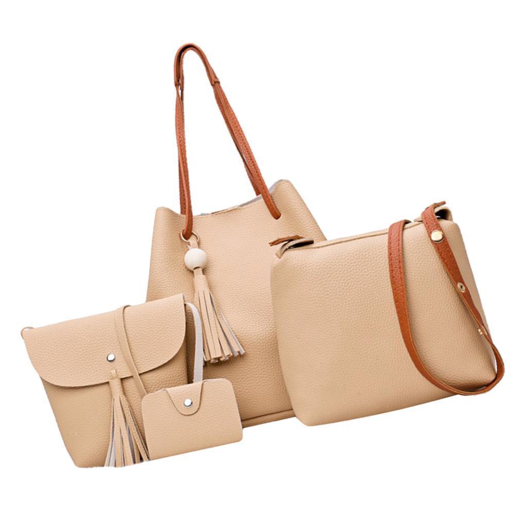 4-teiliges-Fashion-Damenhandtasche-Damen-Handtaschen-mit-Perlen-Anhaenger Indexbild 28
