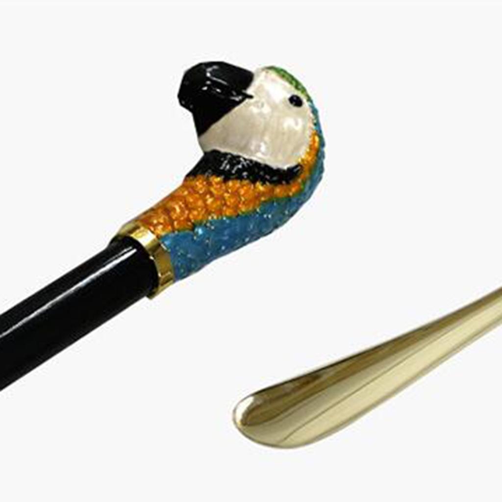 Chausse-pied-long-en-metal-avec-manche-en-bois-de-Schima-et-tete-de-cheval miniature 12