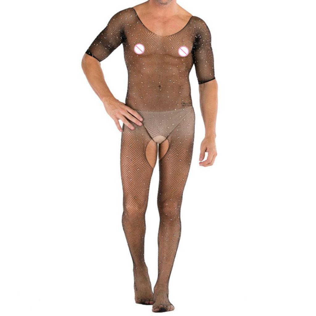 Sous-vetements-Gay-Bodystockings-Body-Resille-Hommes-Sexy-Sissy-Crystal miniature 7