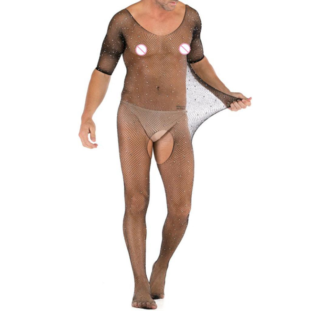 Prettyia-Hommes-Sexy-Strass-Mesh-Body-Sheer-Body-Bas-Jumpsuit-Justaucorps miniature 7
