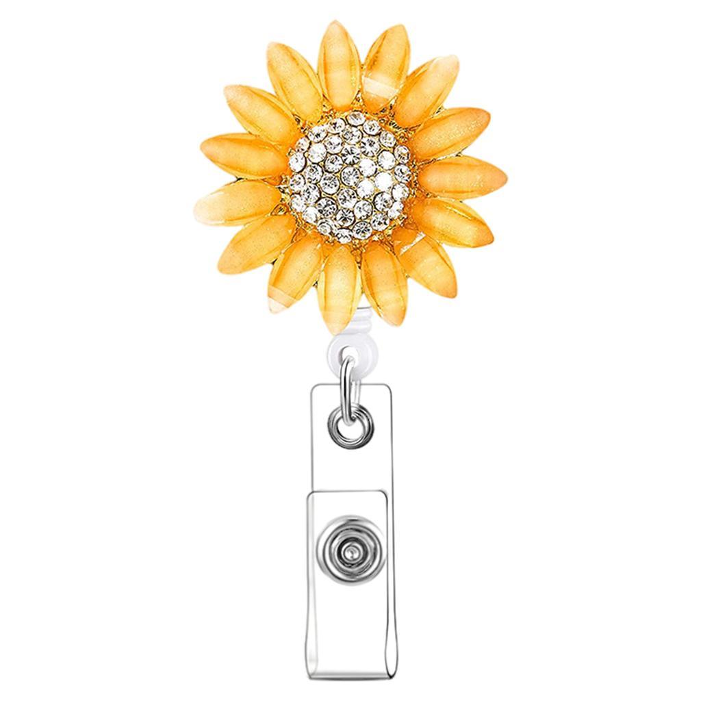 Bobine de badge en plastique rétractable tournesol avec porte-clés pour