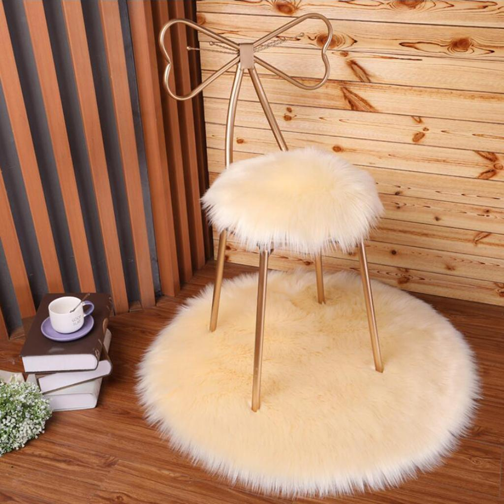 Runde Flauschige Kunstpelz Sitzkissen Pad Künstliche