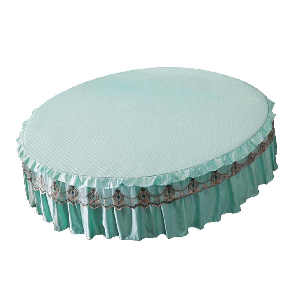 Runde elastische Rüschen Bett Rock Wrap um rutsch feste Himmelblau 220cm