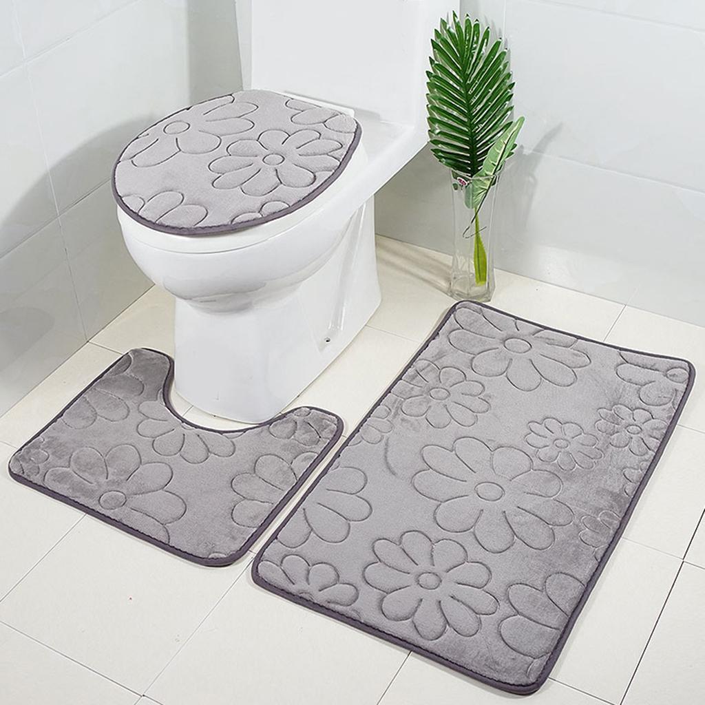 Badezimmerteppich-Set-Badematte-Badevorleger-Toilettensitzbezug Indexbild 7
