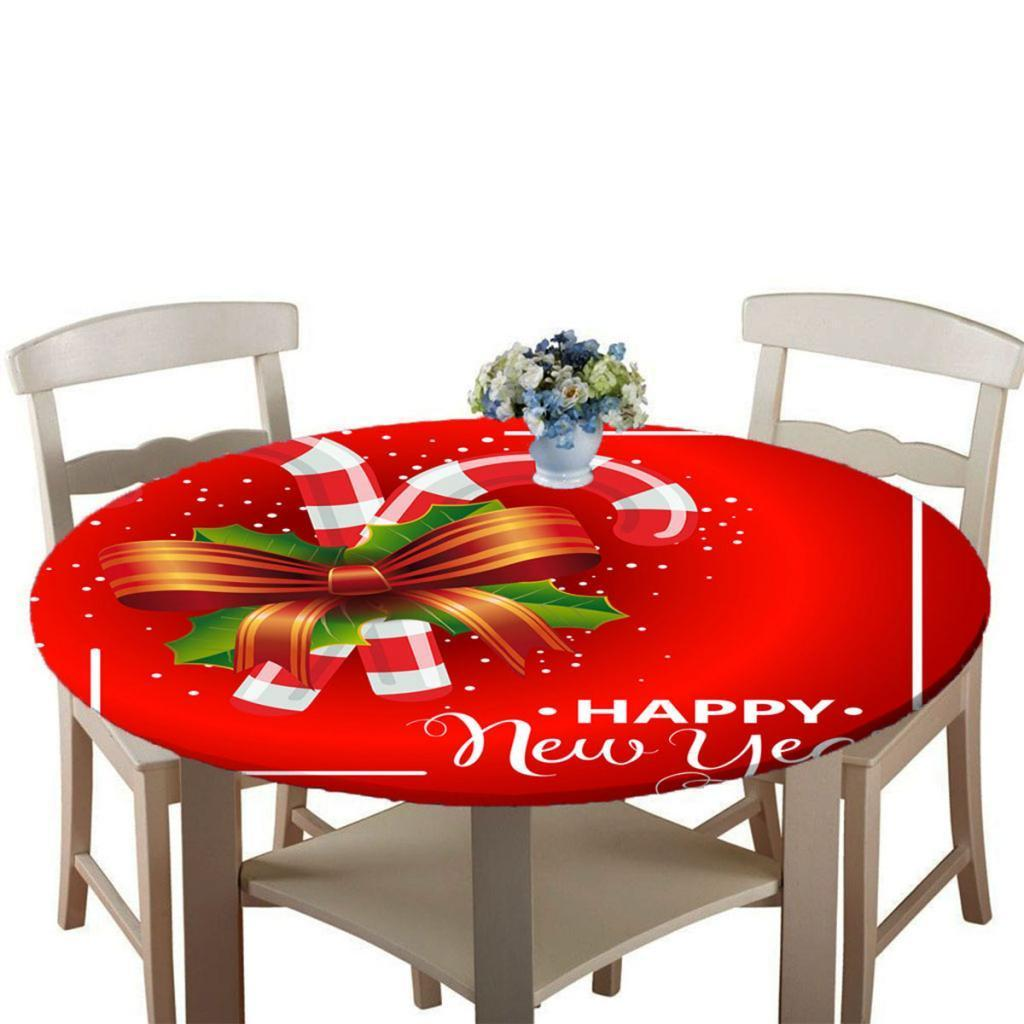 Round-Table-Cloth-Elastic-Edged-Fitted-Vinyl-Table-Cover-Christmas-Decor thumbnail 13