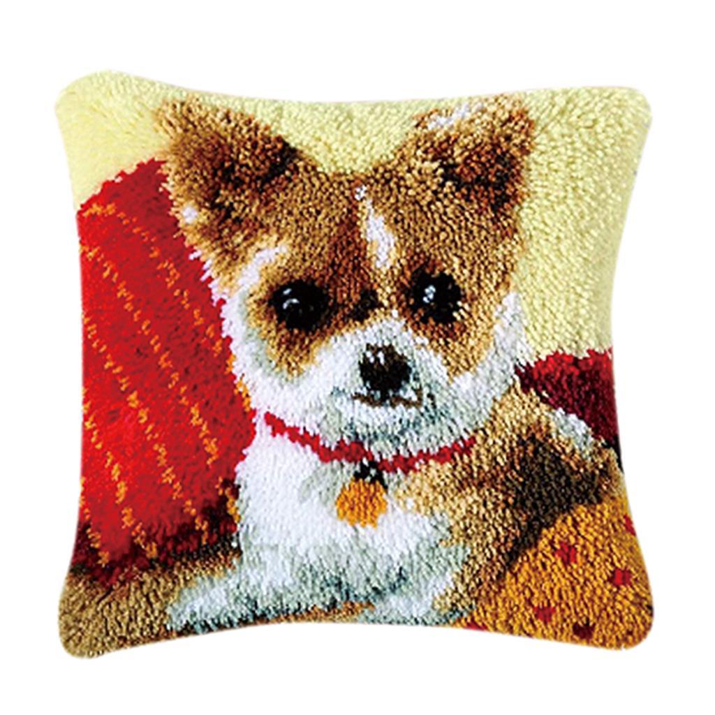 Dog Latch Hook Kit DIY Hand Craft for Pillow Mat Cushion Carpet Rug 50x36cm