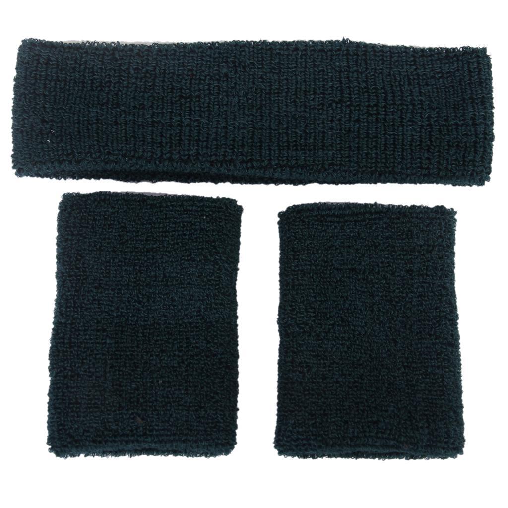 1 Set 3pc Wrist Band Sweatband Wristbands Headbands Gym Workout Yoga Fancy Dress