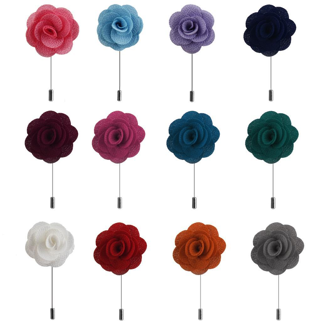 Silk Rose Flower Corsage Boutonniere Stick Lapel Buttonhole Grooms Wedding