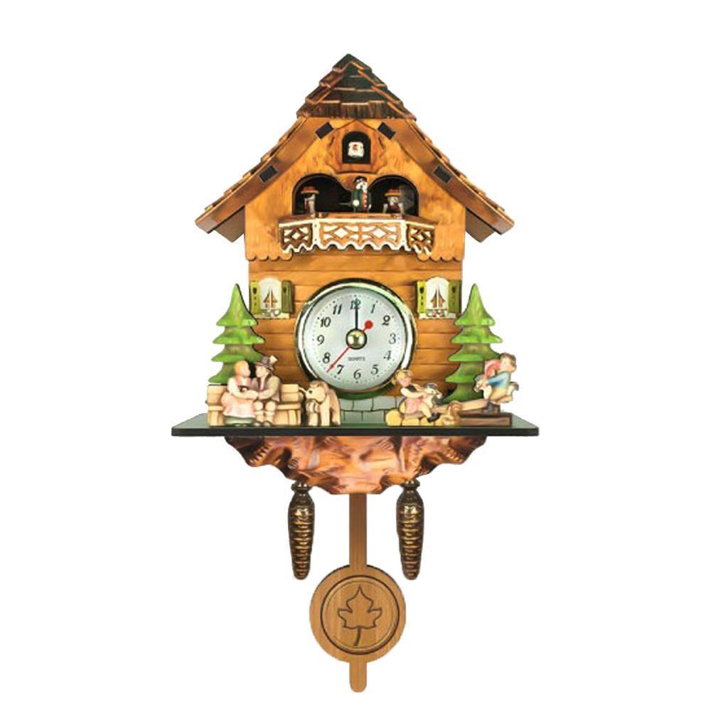 thumbnail 6 - Retro Vintage Style Wall Clock Hanging Handcraft Wooden Cuckoo Clock