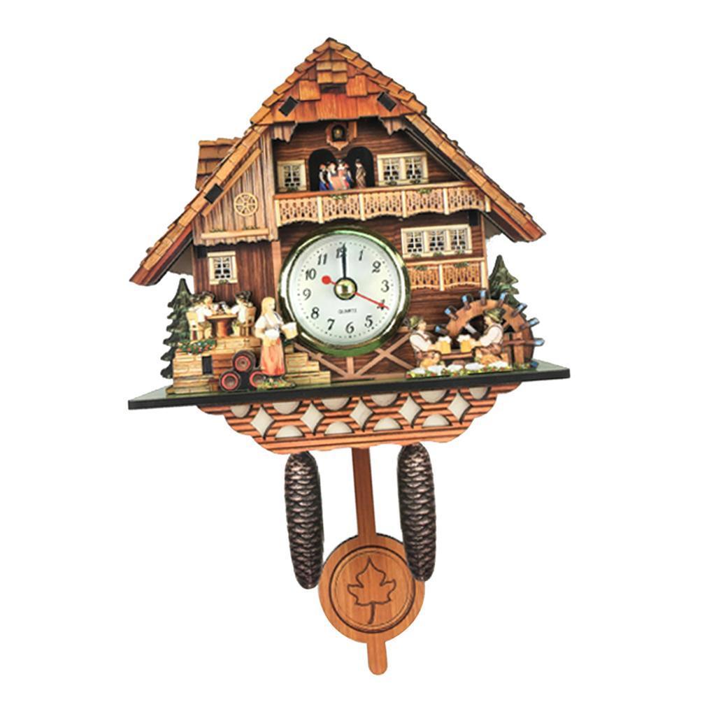 thumbnail 16 - Retro Vintage Style Wall Clock Hanging Handcraft Wooden Cuckoo Clock