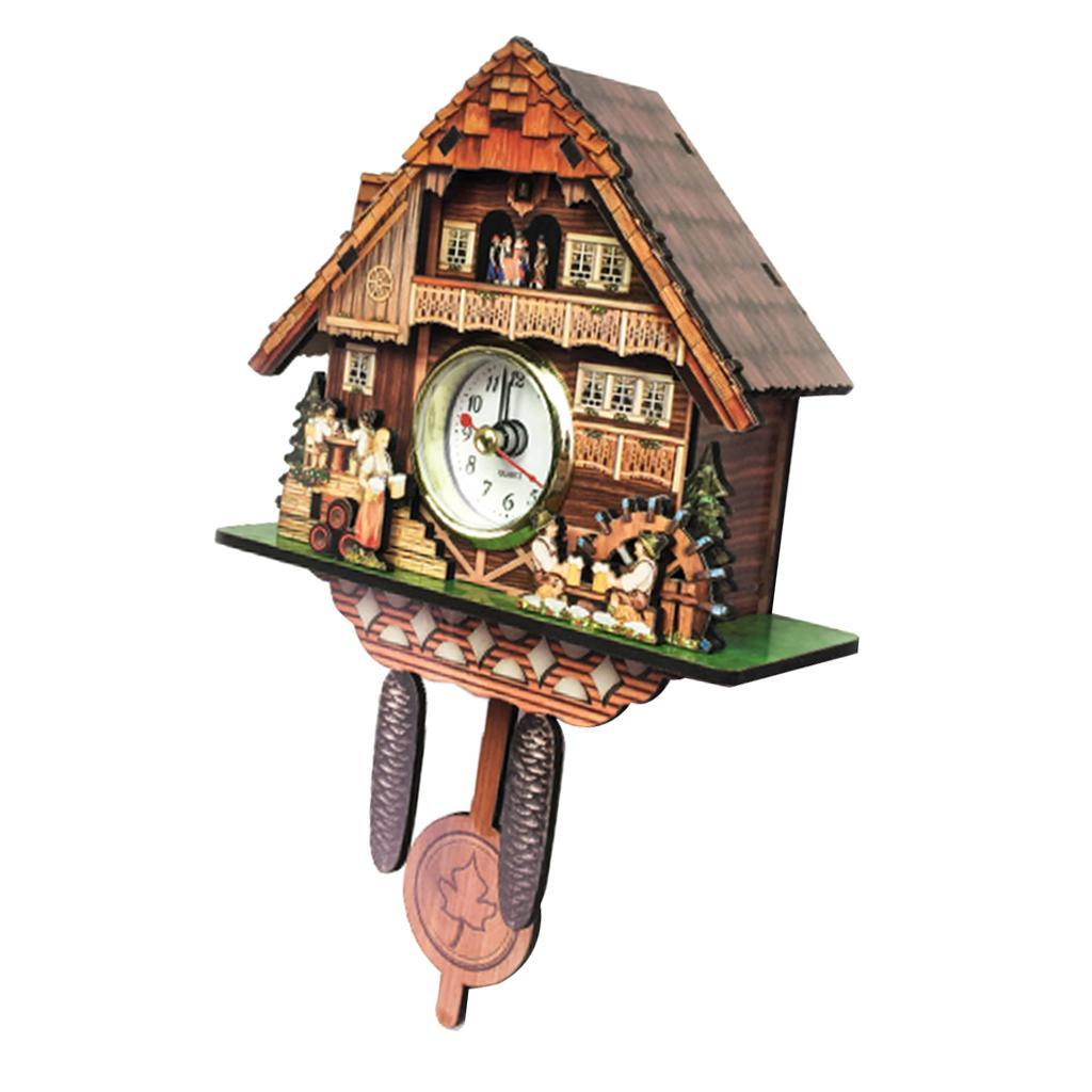 thumbnail 14 - Retro Vintage Style Wall Clock Hanging Handcraft Wooden Cuckoo Clock