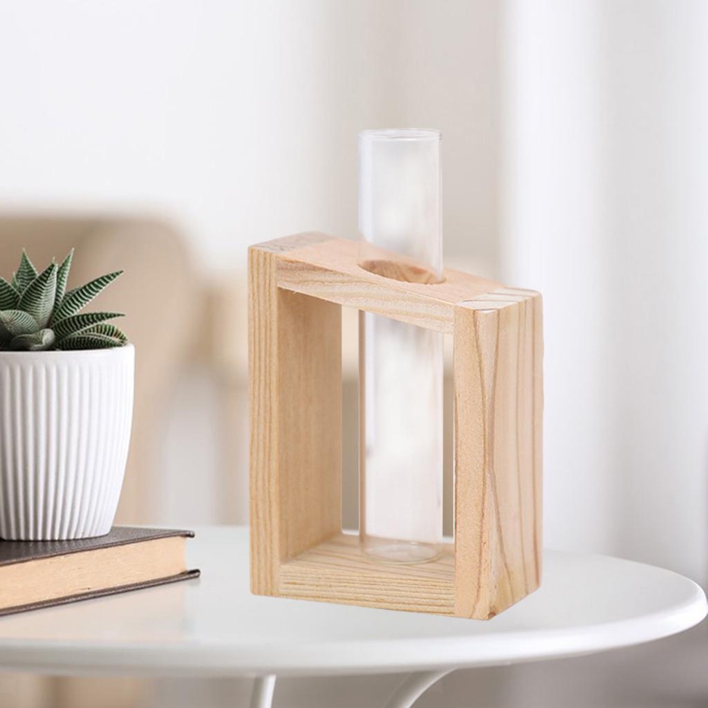 Indexbild 7 - Reagenzglas Vase Holzständer Blumentöpfe Home Planter für