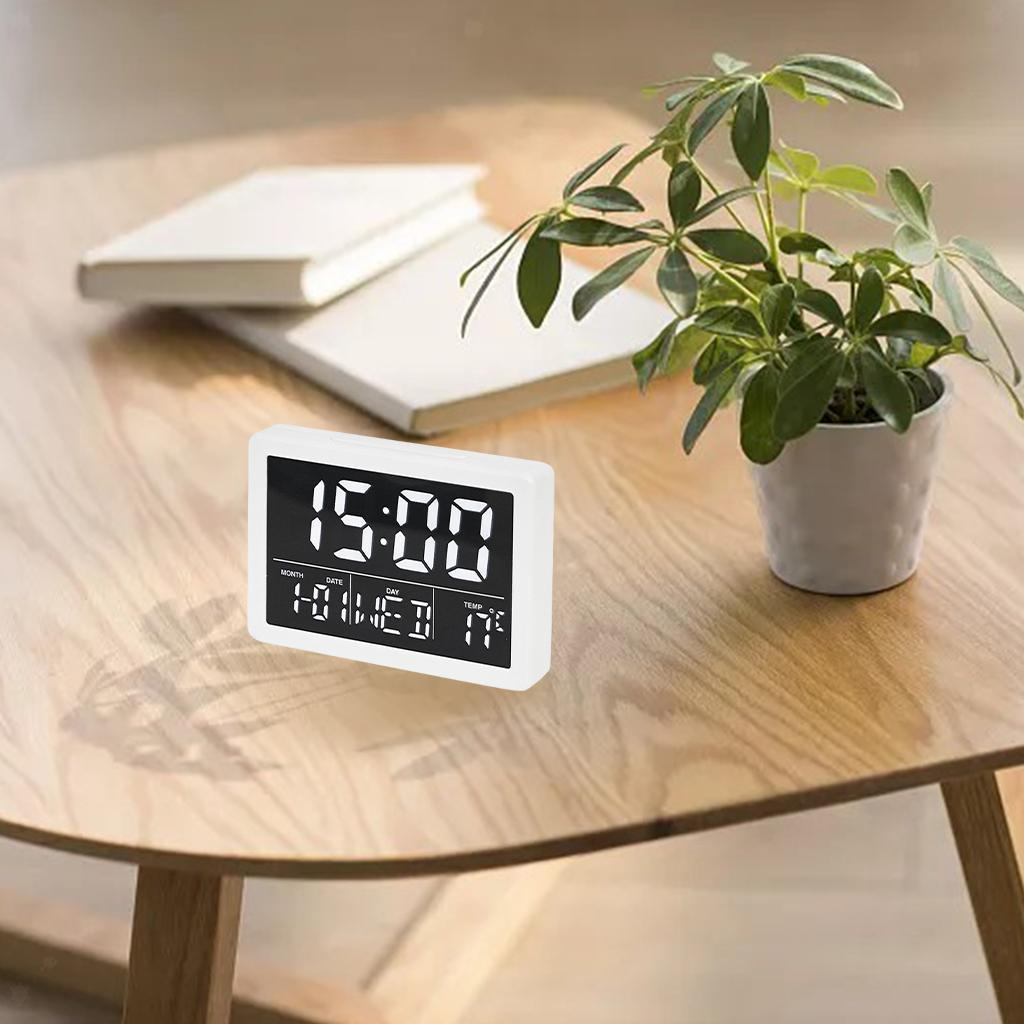 thumbnail 4 - Mirror Alarm Clocks Snooze for Home Bedroom Kitchen Nightstand Office Decor