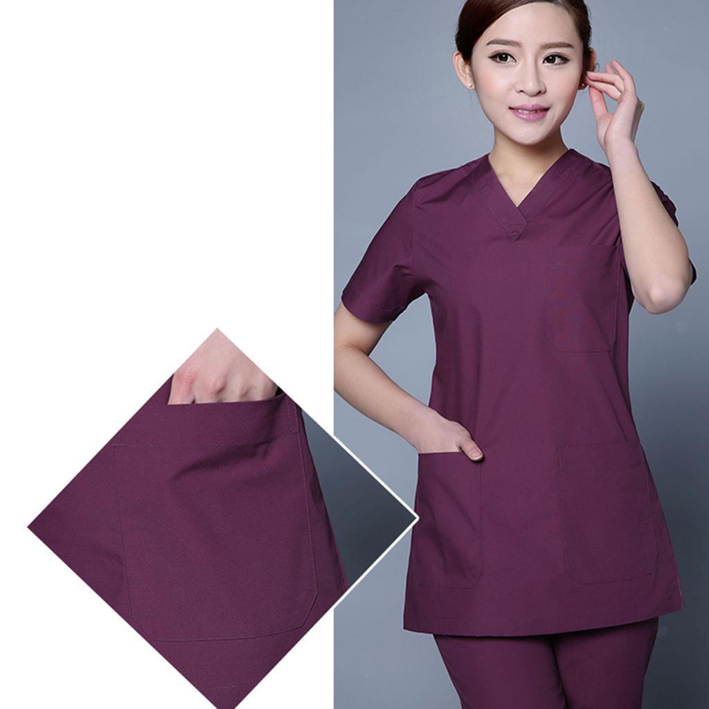 Men-Women-Scrub-Sets-Medical-Spa-Nursing-Clinic-Hospital-Uniform-Top-Pants miniature 12